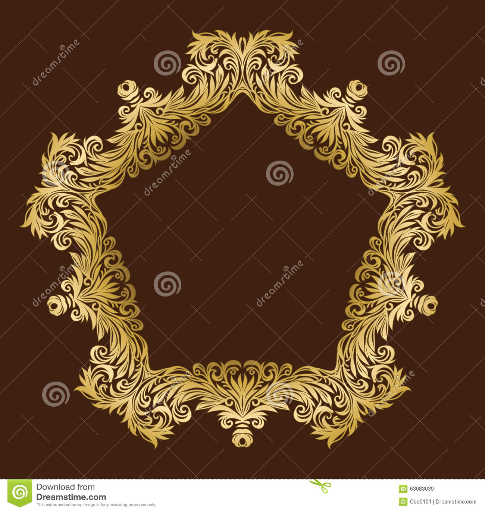 Download Cadre Floral Royal Fleuri D'or De Vintage De Vecteur Illustration de Vecteur - Illustration du fond, trame: 63083039