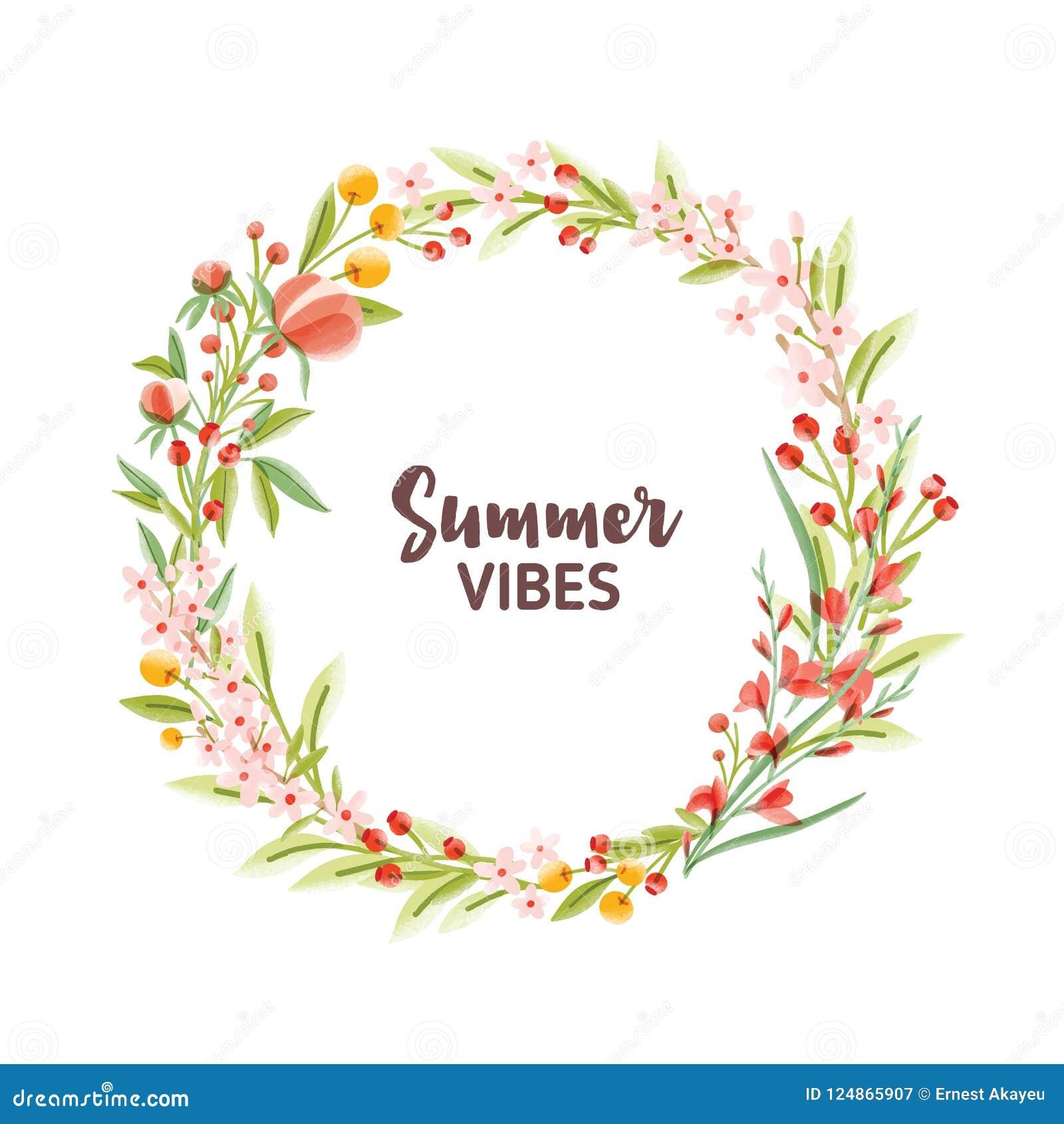 Cadre, guirlande, guirlande ou frontière circulaire faits de fleurs, baies et feuilles et été saisonniers de floraison colorés