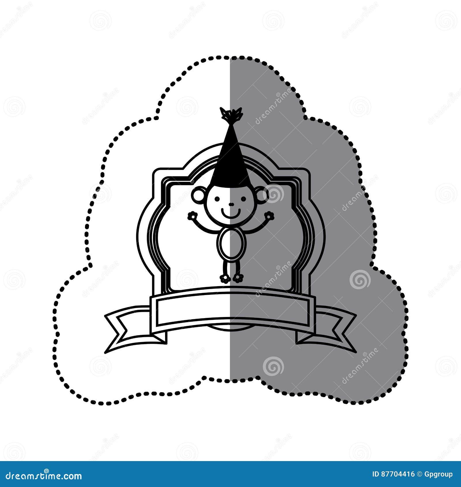 Cadre héraldique de silhouette d autocollant avec l animal et le ruban mignons de singe