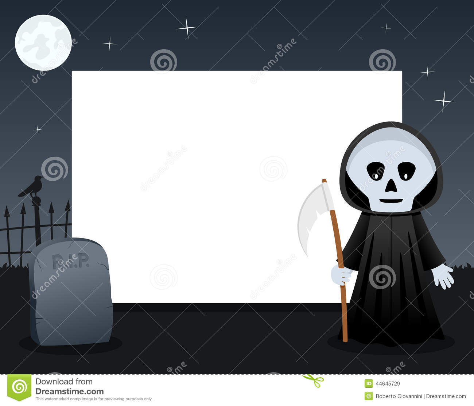 Cadre horizontal de Halloween de faucheuse