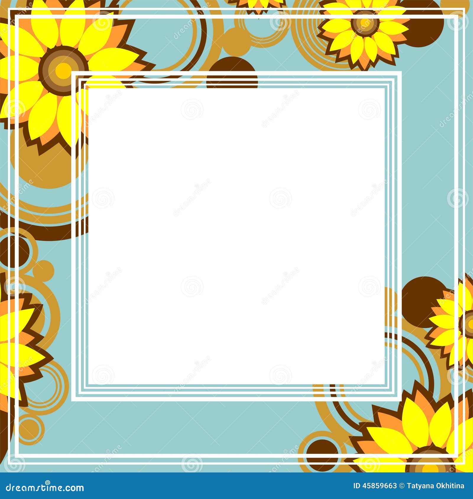cadre jaune de fleurs illustration de vecteur. Black Bedroom Furniture Sets. Home Design Ideas