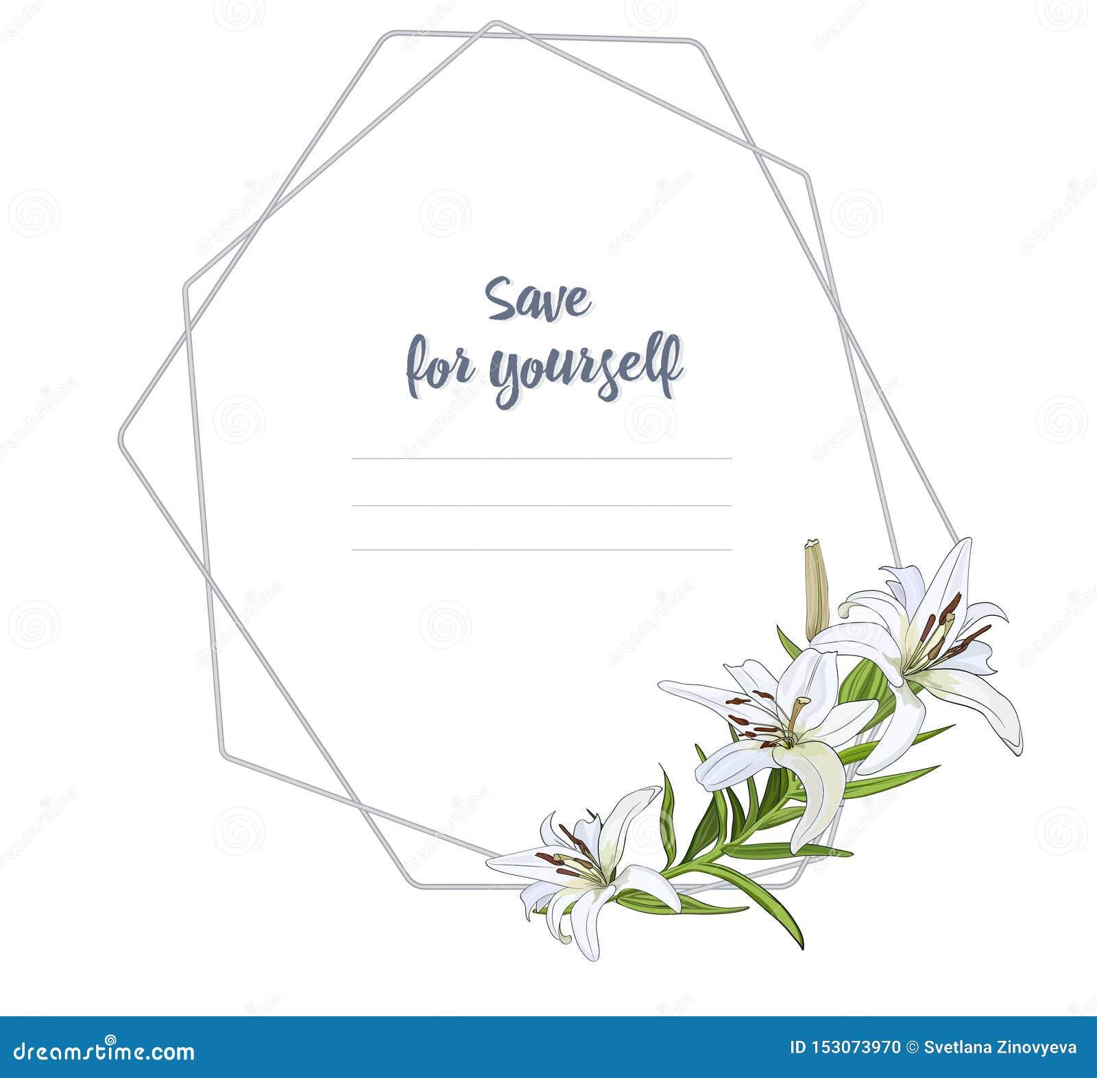 Cadre léger pour les félicitations, invitations avec un bouquet des fleurs de lis blanc Vecteur