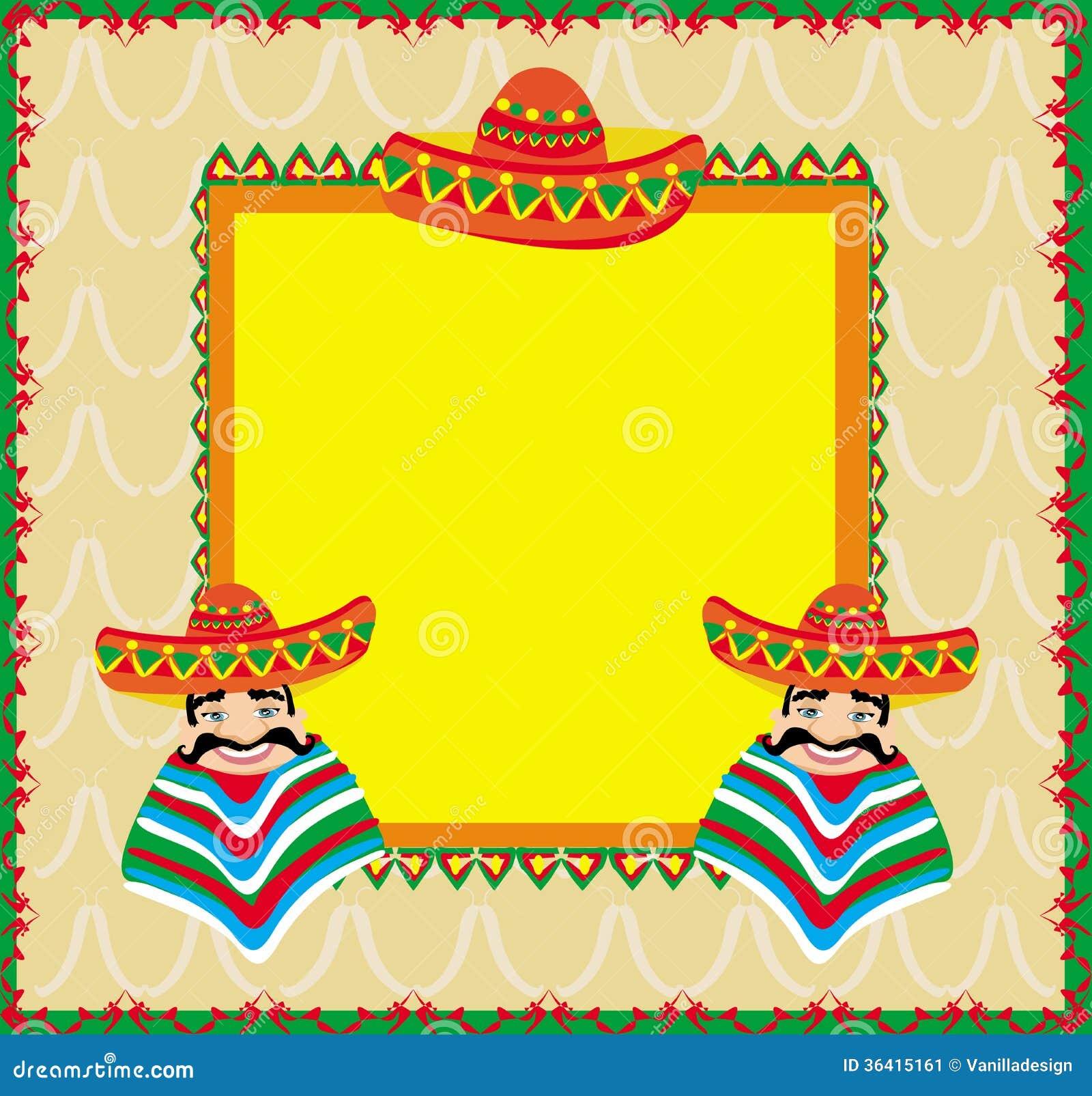 cadre mexicain avec l homme dans le sombrero image stock