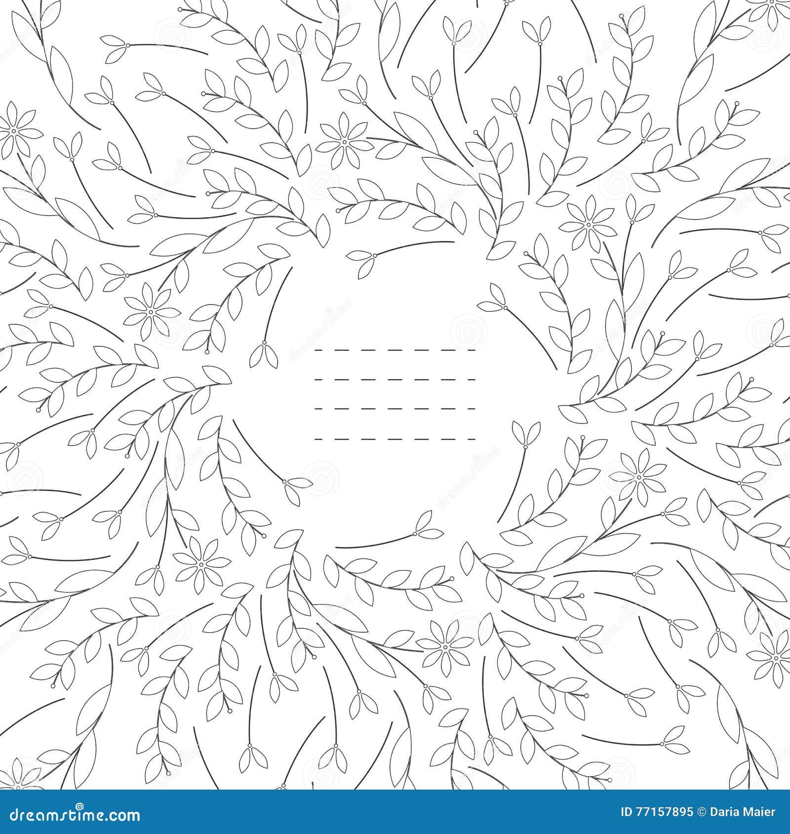 Cadre mignon avec des feuilles et des fleurs d isolement sur le fond blanc