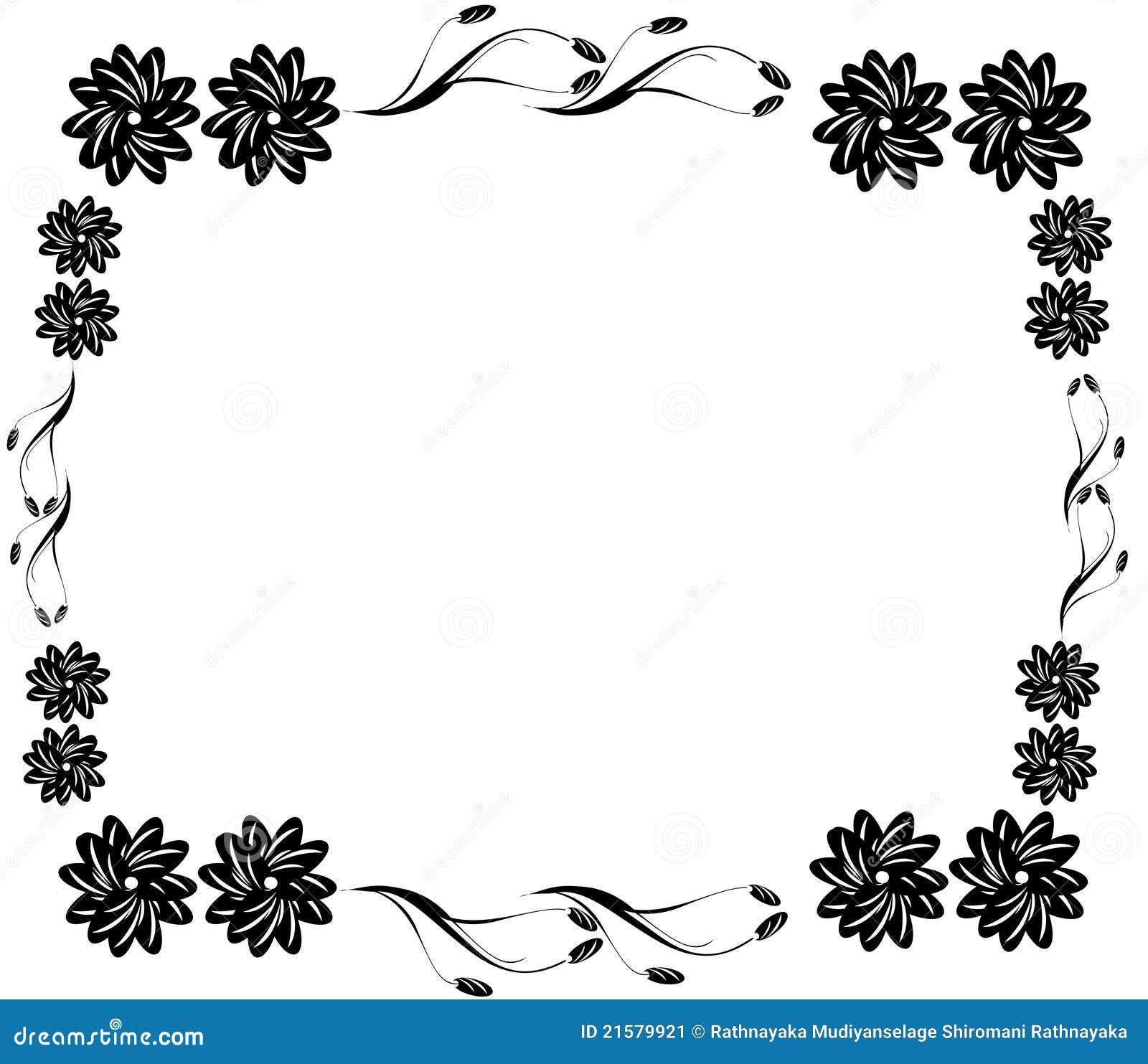 Favori Cadre Noir Décoratif De Fleur Illustration Stock - Image: 21579921 UC25