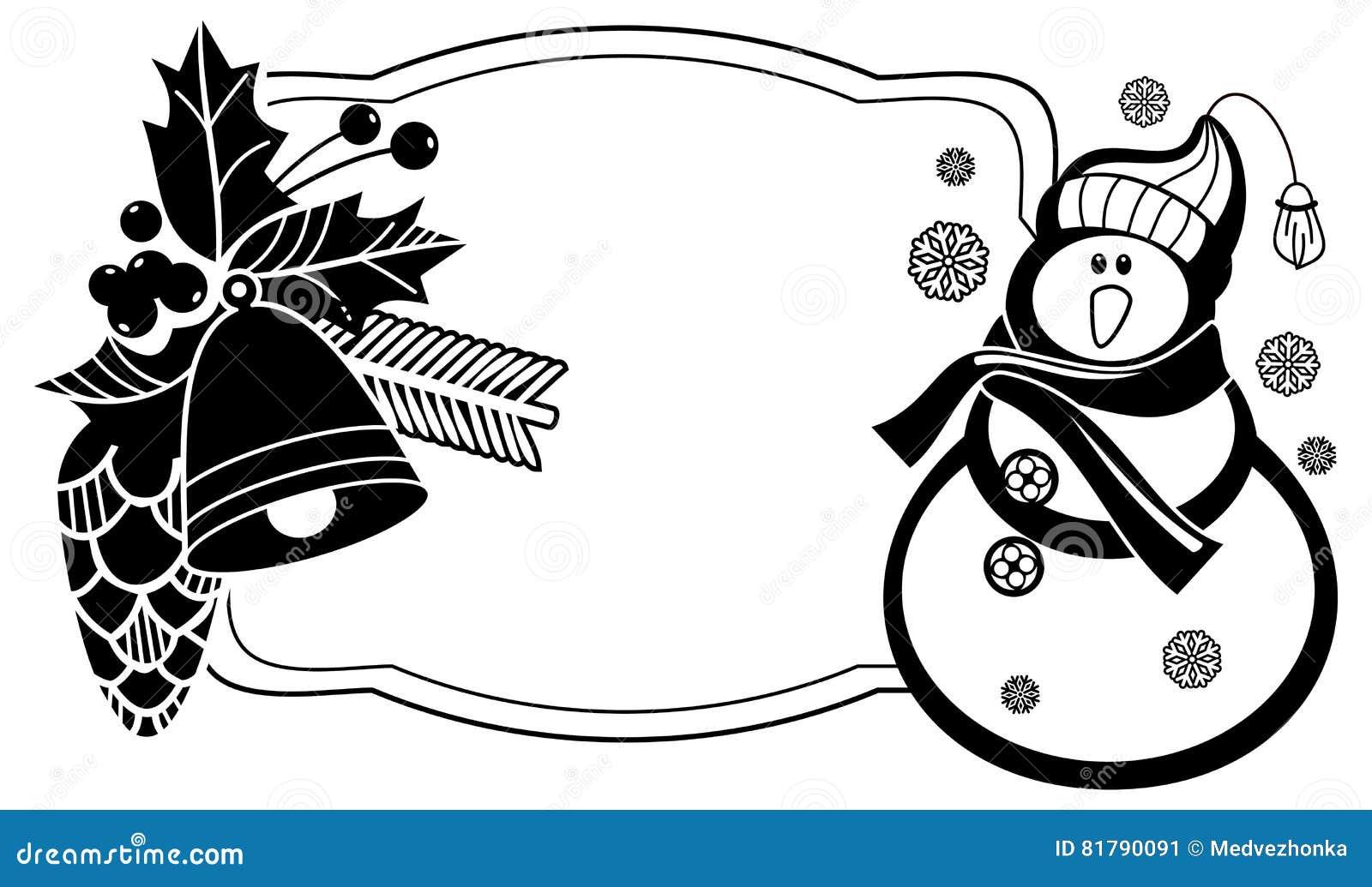 cadre noir et blanc avec le bonhomme de neige les baies de houx et les c nes dr les de pin. Black Bedroom Furniture Sets. Home Design Ideas