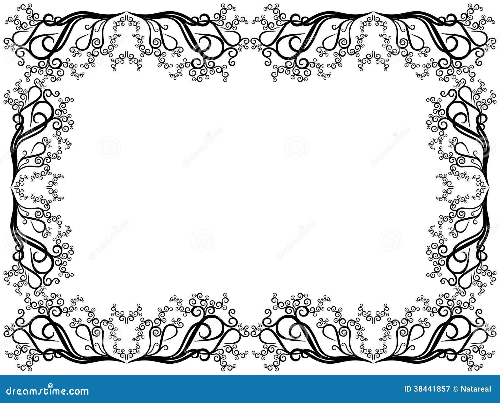 Très Cadre Noir Et Blanc Avec Les éléments Floraux Photographie stock  WW63