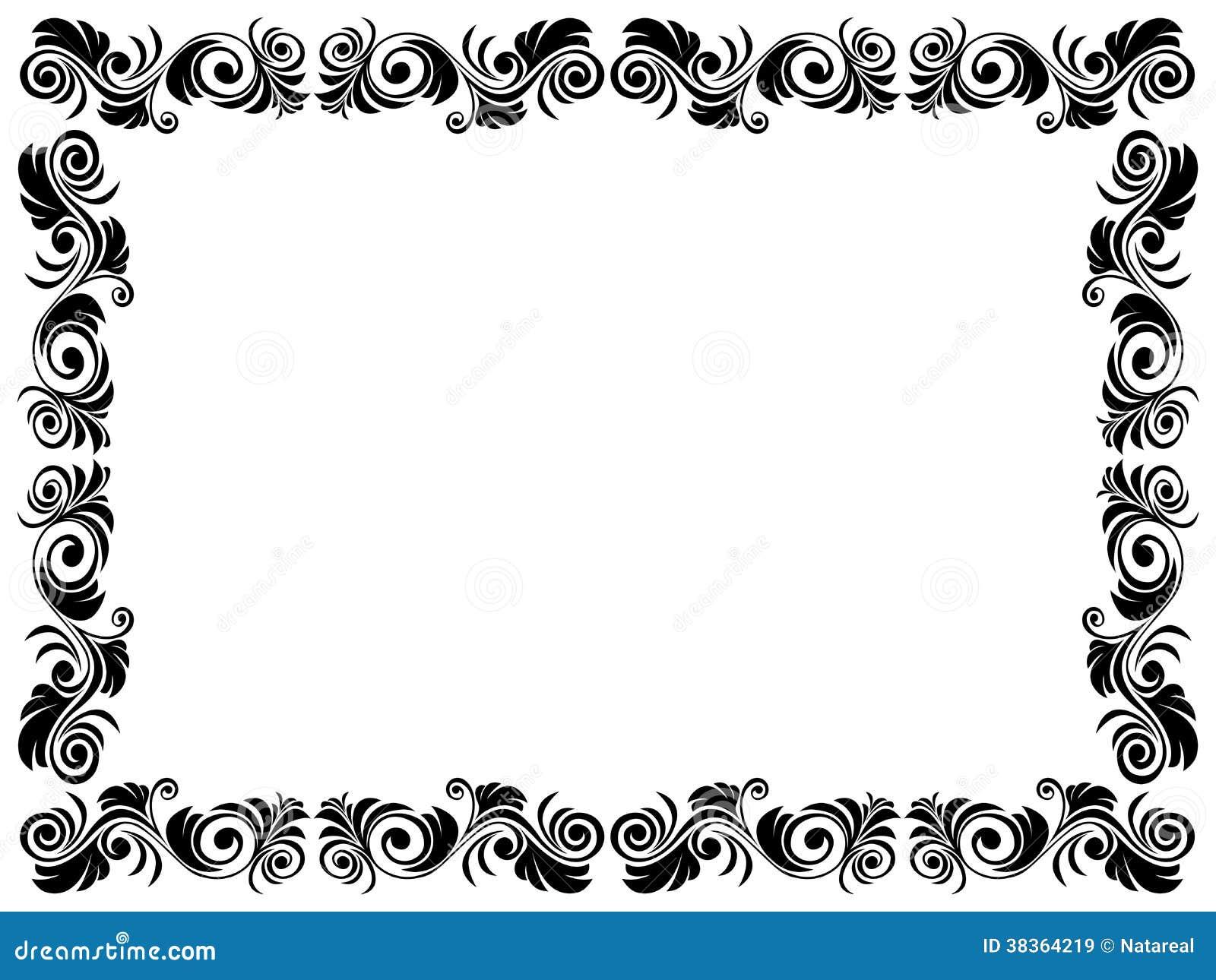 Très Cadre Noir Et Blanc De Blanc Avec L'élément Floral Images libres  WW63