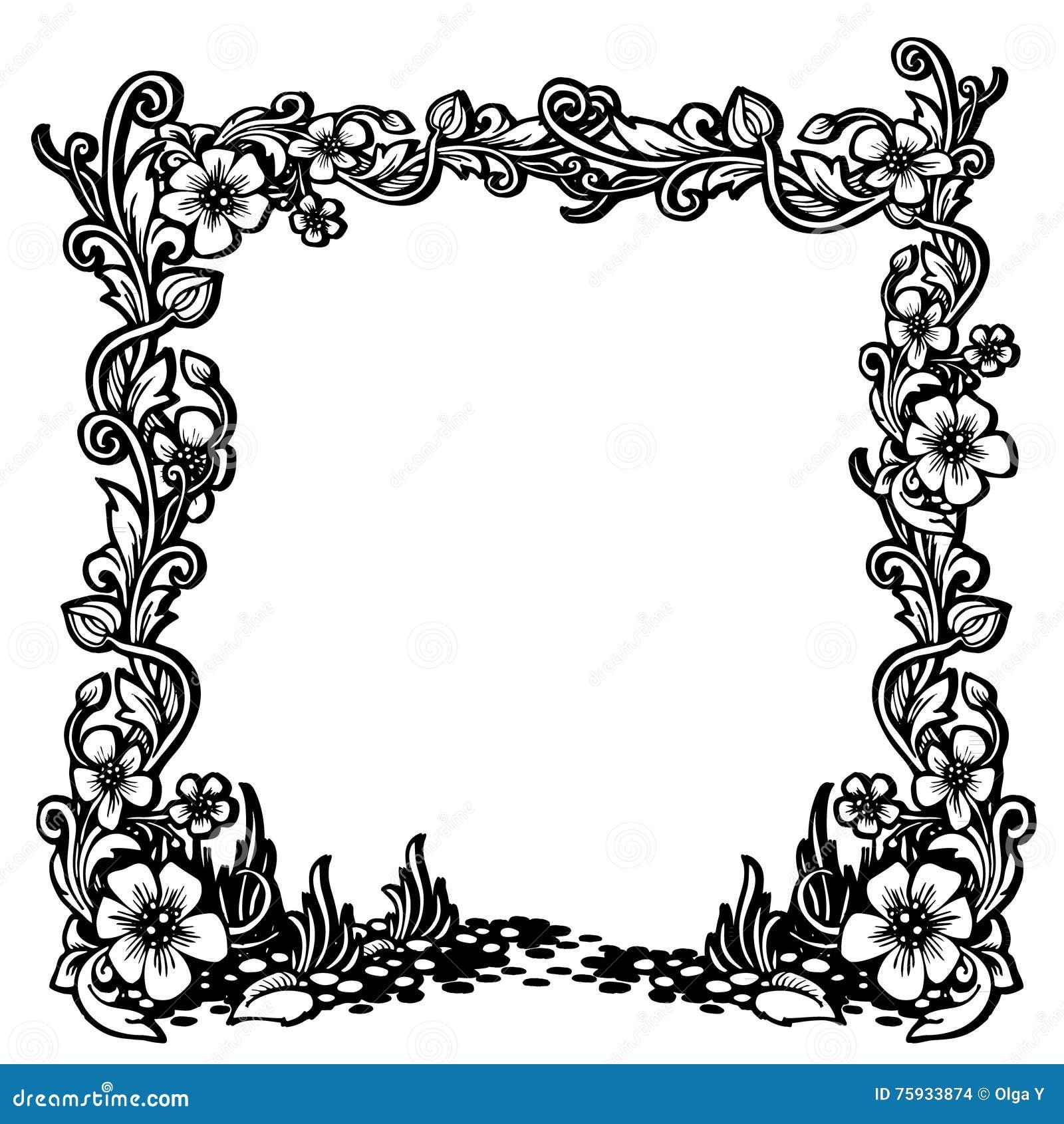 cadre noir et blanc de vintage avec le mod le floral illustration stock illustration du jardin. Black Bedroom Furniture Sets. Home Design Ideas