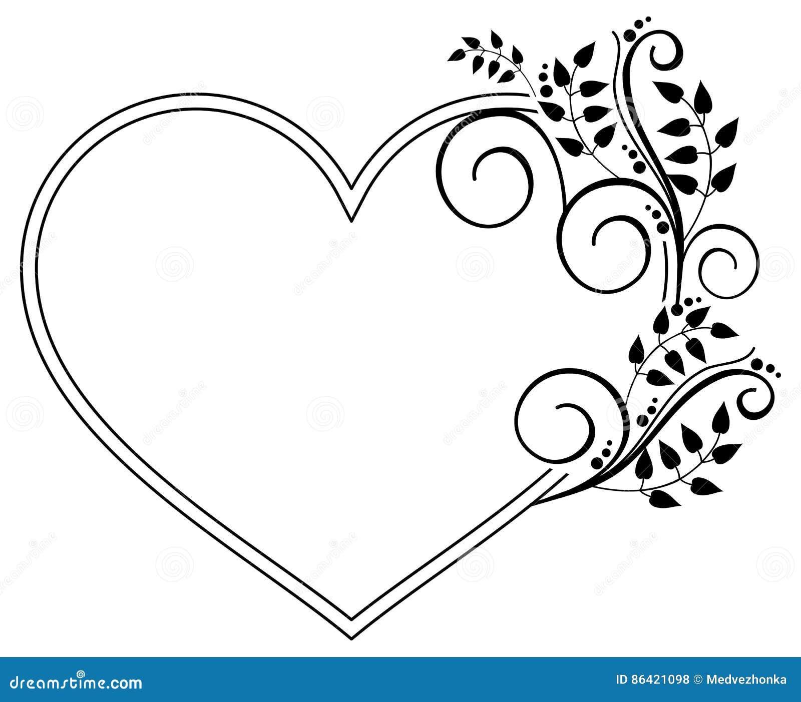 cadre noir et blanc en forme de coeur avec les silhouettes florales rast illustration stock. Black Bedroom Furniture Sets. Home Design Ideas