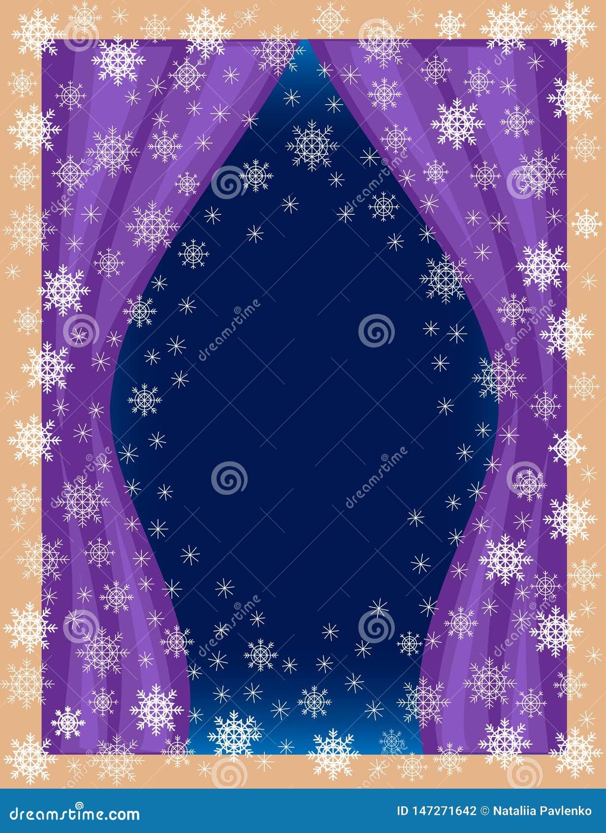 Cadre original pour les photos et le texte Vue de la salle de la fenêtre Flocons de neige à jour sur un fond bleu créer un de fêt