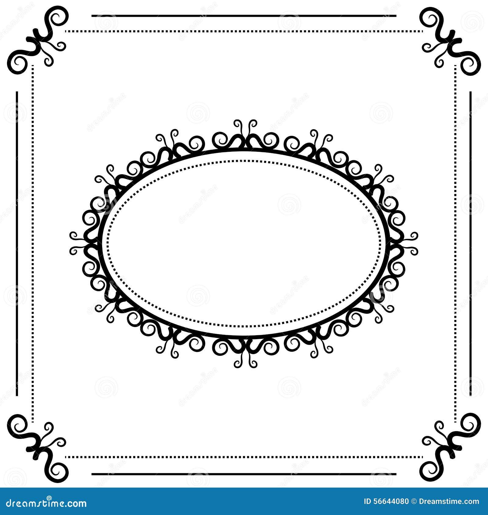 Cadre ovale de vintage noir et blanc sur un fond blanc illustration de vecteur image 56644080 for Cadre noir et blanc