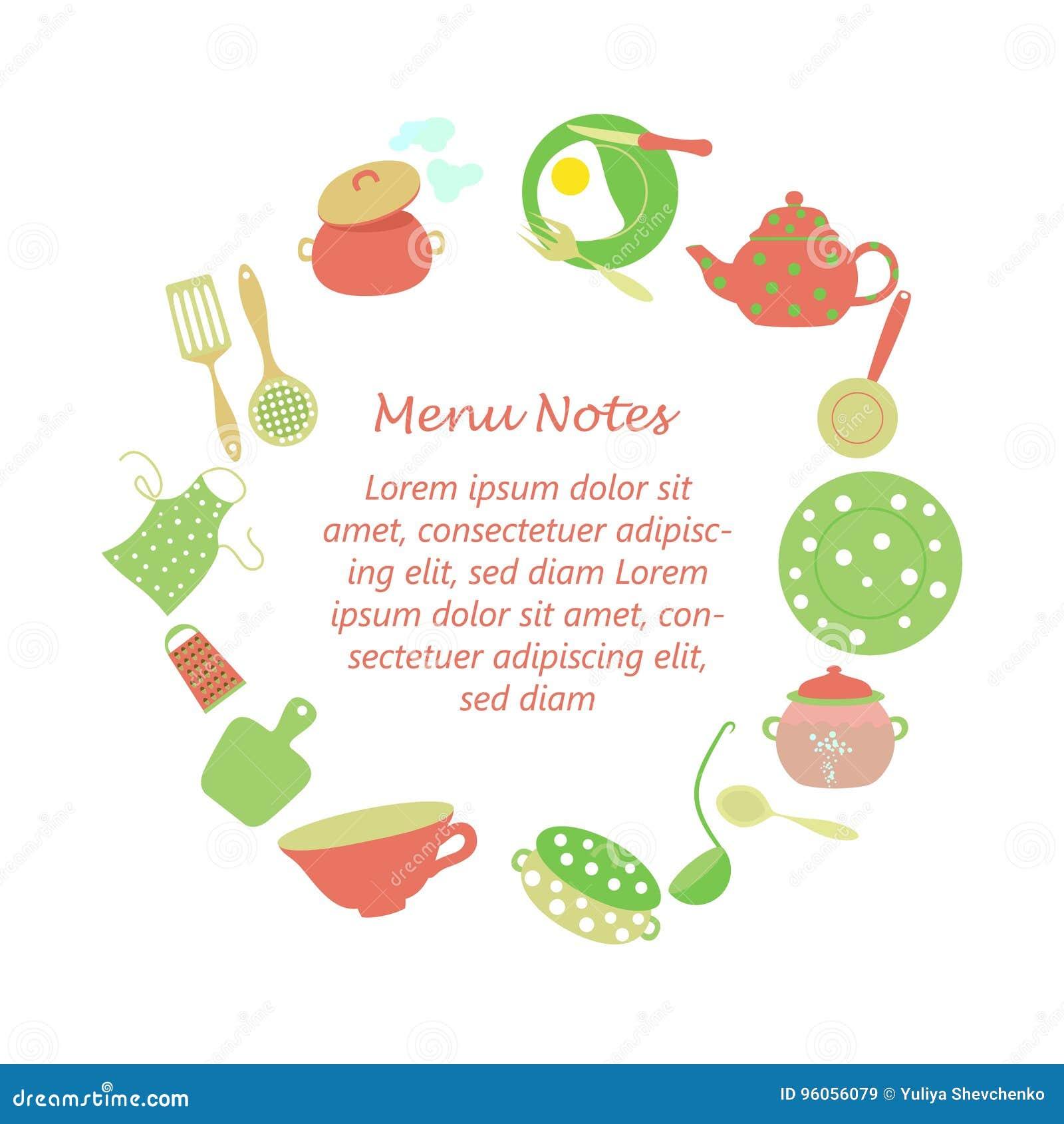 Cadre pour des notes de ménage de cuisine