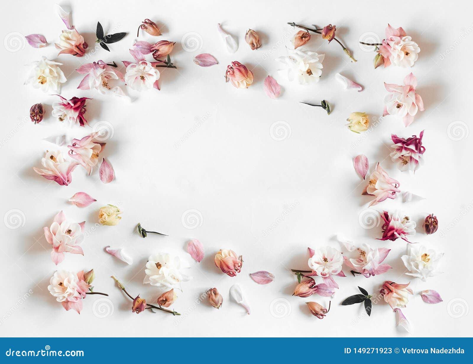 Cadre rectangulaire fait de rose et fleur de cloche beige