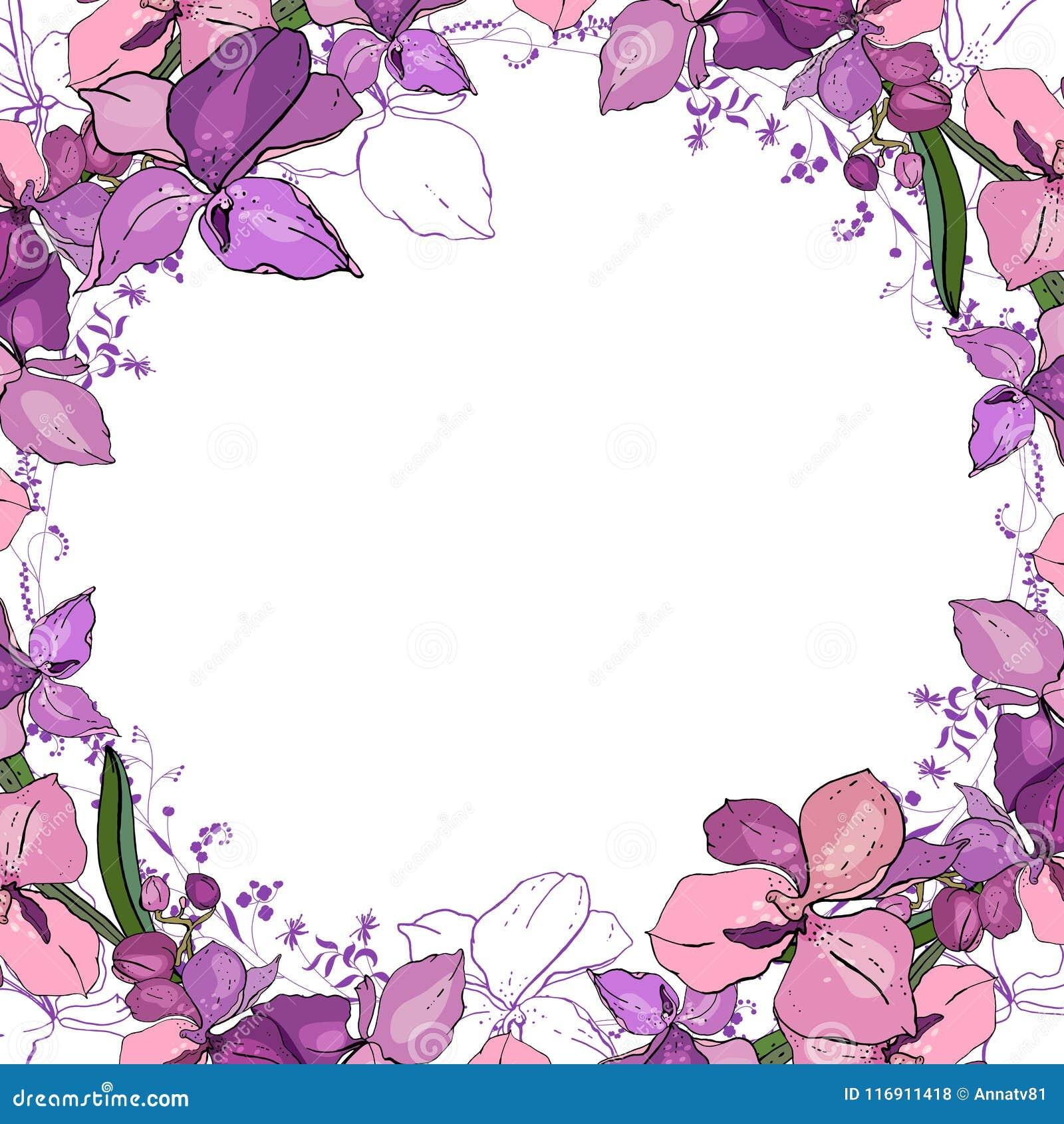 Cadre romantique avec des orchidées Calibre carré vide