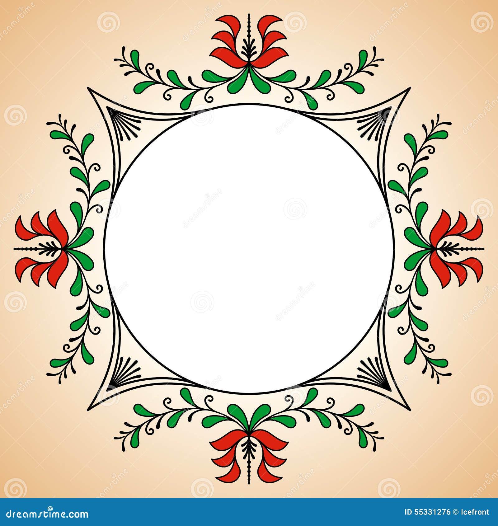 Cadre rond avec des motifs hongrois de potier