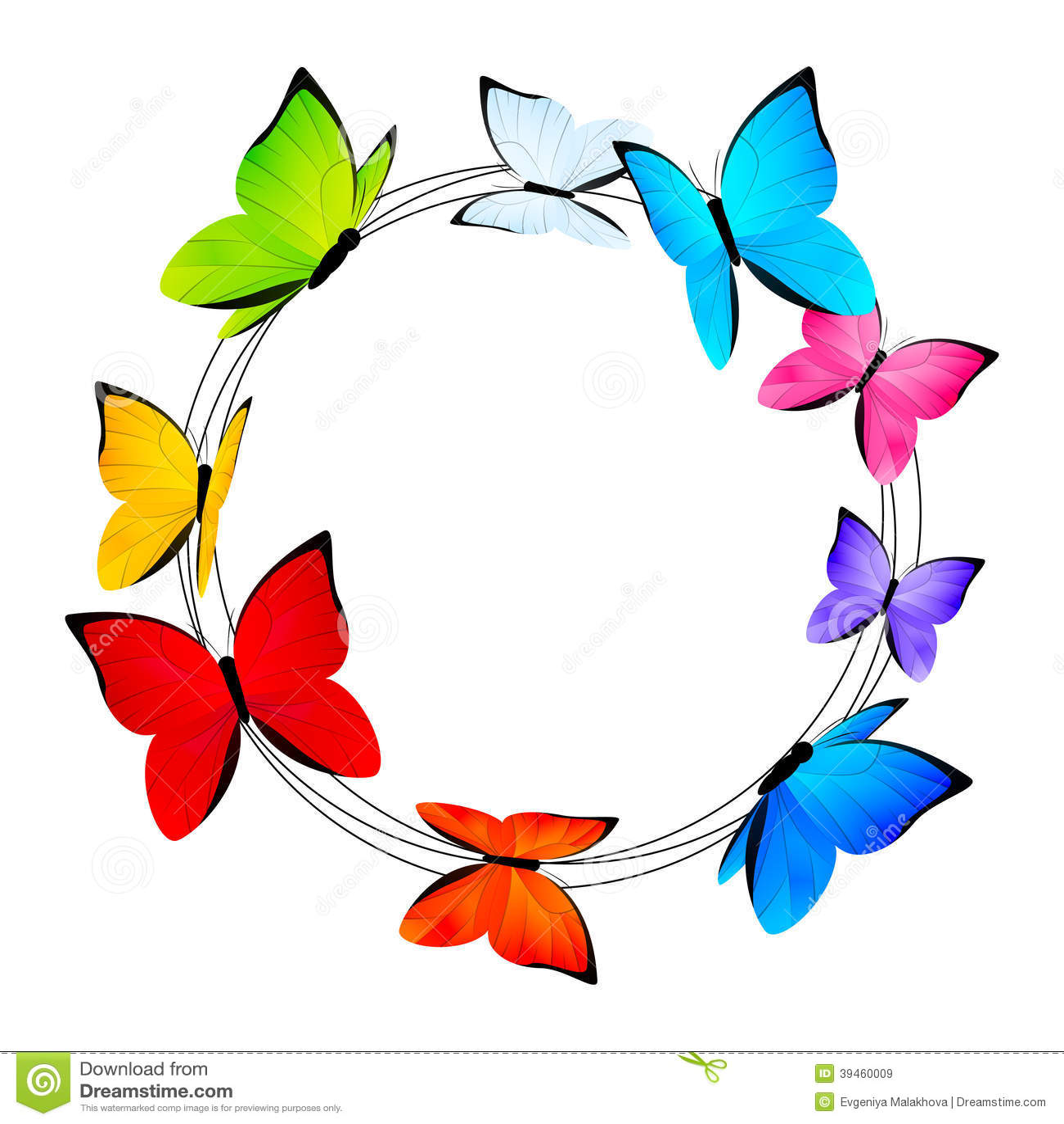 Cadre rond avec des papillons de couleur illustration de - Papillon dessin couleur ...