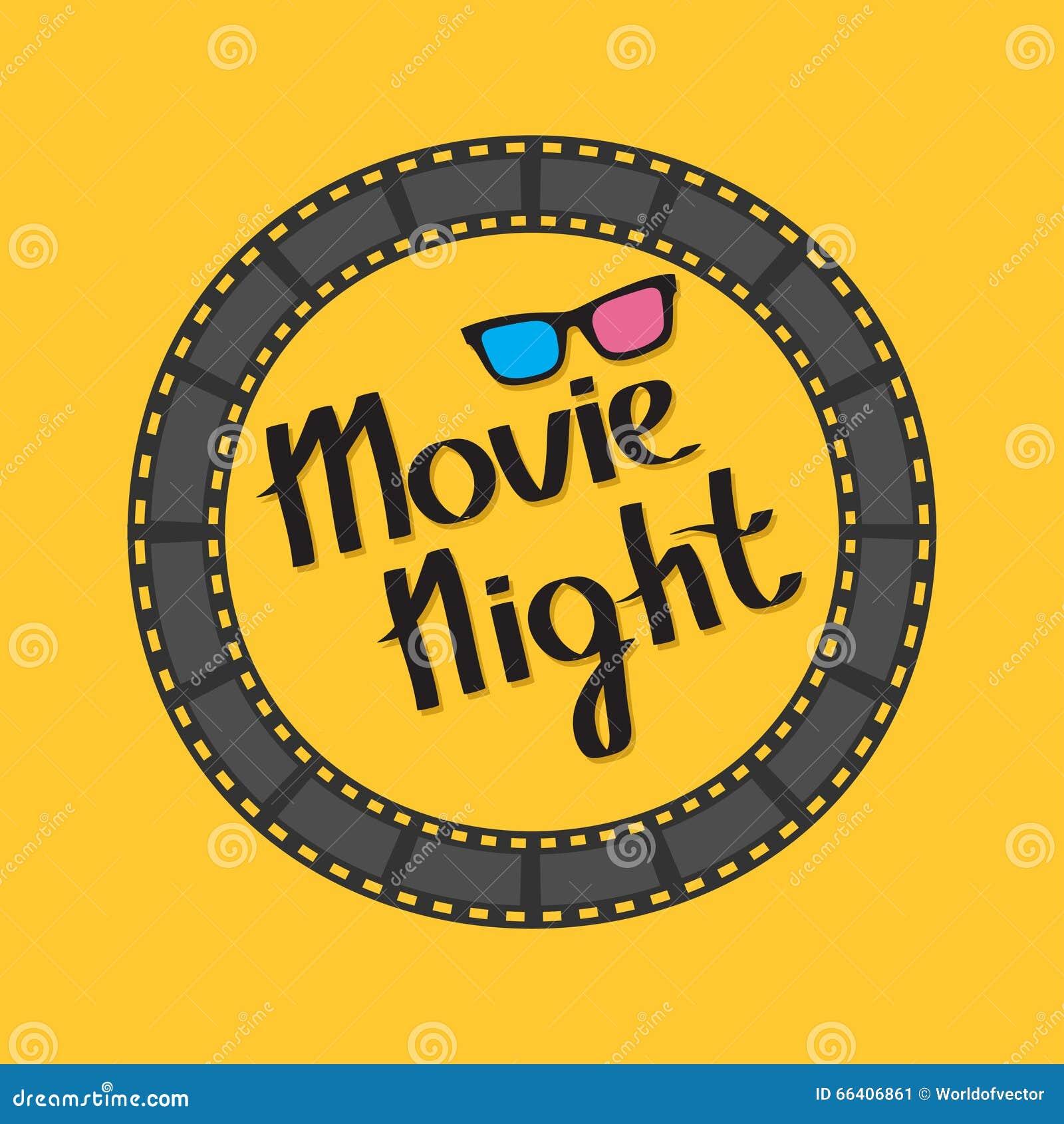Cadre rond de cercle de bande de film glaces 3D Texte de soirée cinéma lettrage Fond jaune Conception plate