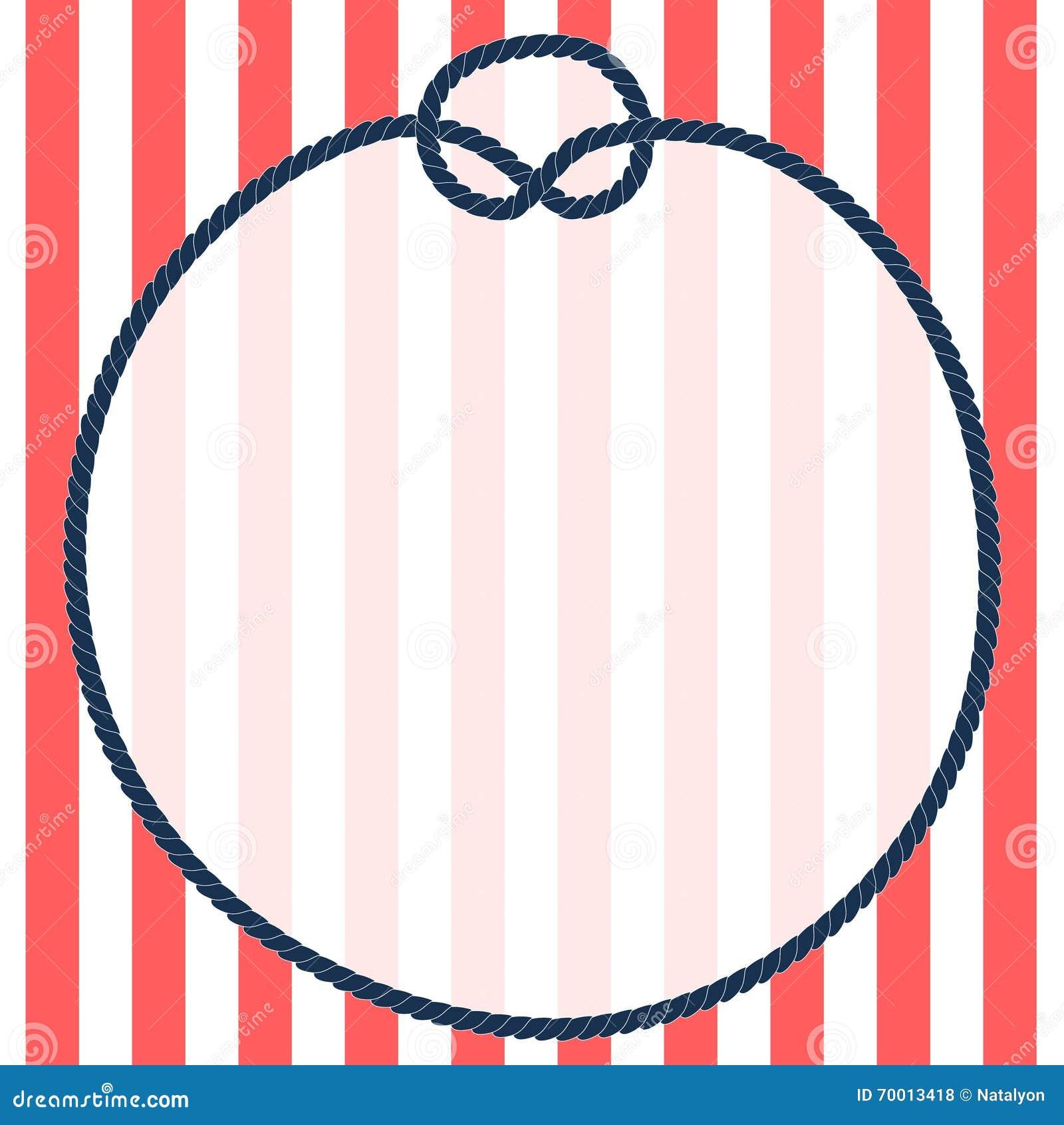 Cadre rond de corde de bleu marine avec un noeud sur le fond ray vecteur illustration de - Miroir rond avec corde ...