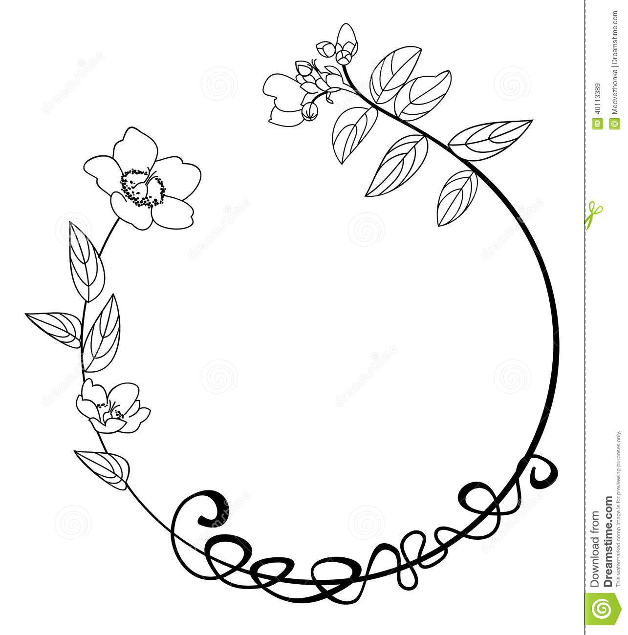 Flower Circle Line Drawing : Cadre rond de fleur illustration vecteur image