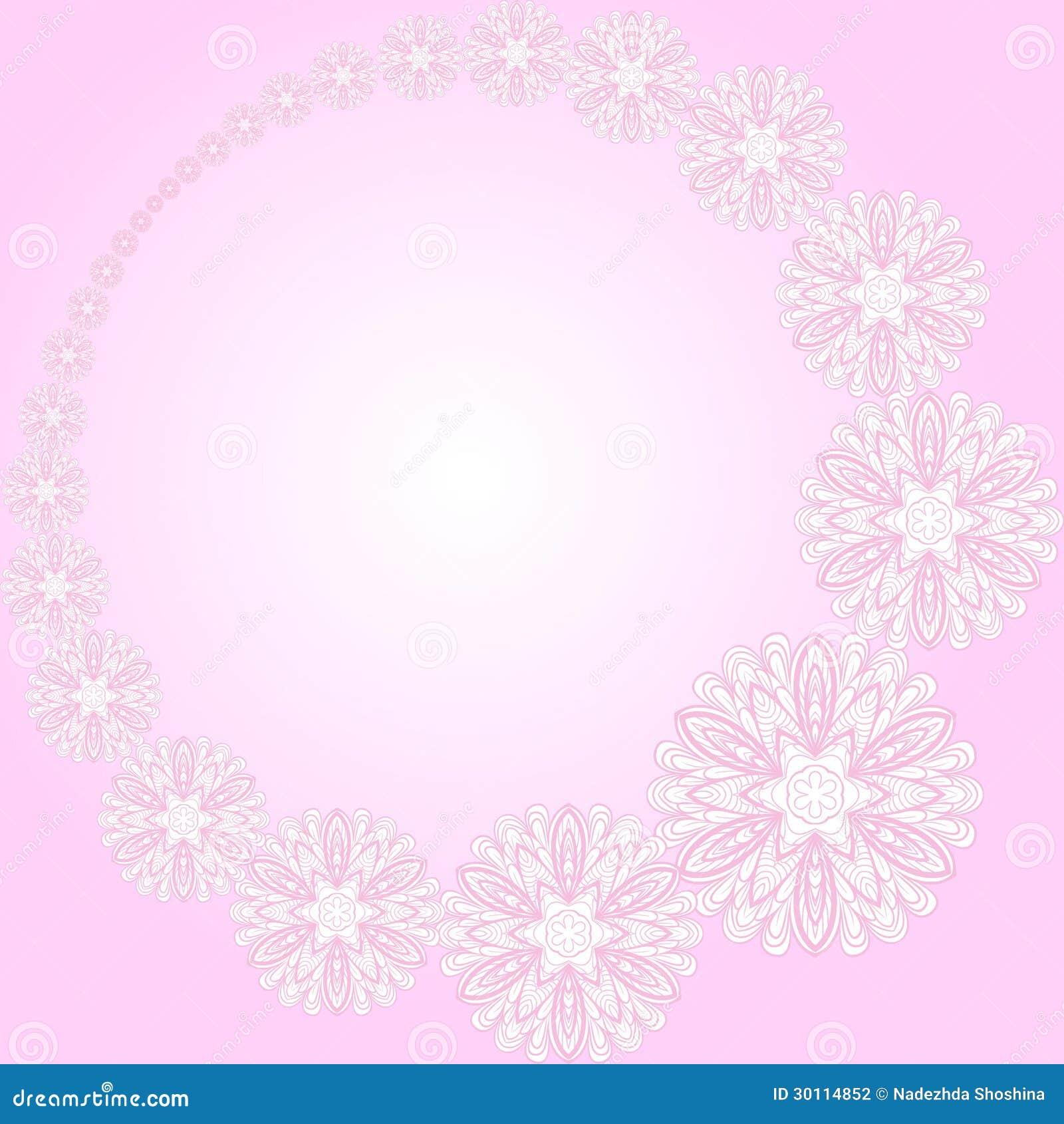 cadre rond rose avec des fleurs photographie stock image. Black Bedroom Furniture Sets. Home Design Ideas