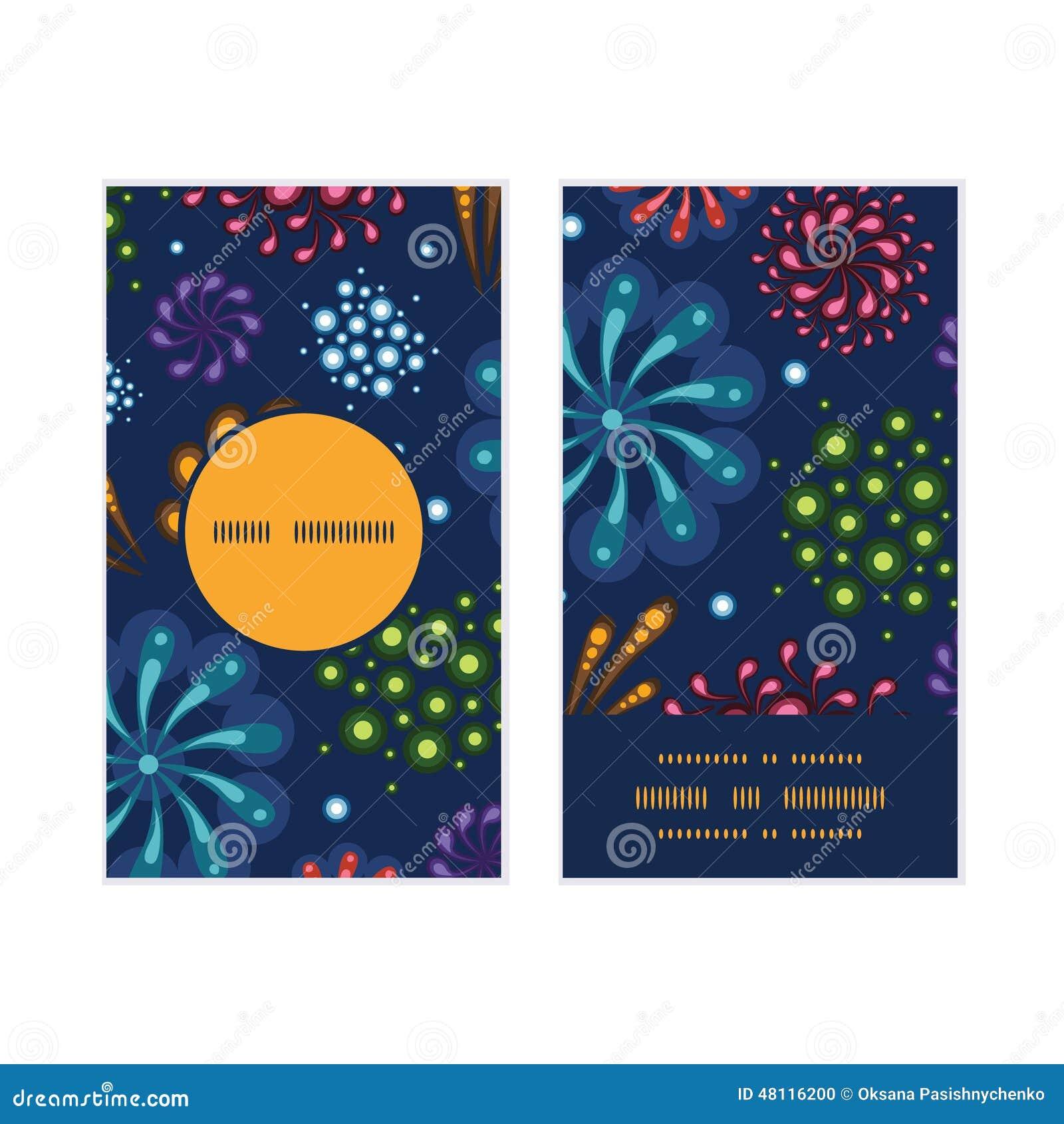 Les Cartes De Visite Professionnelle Rondes Verticales Modle Cadre Feux Dartifice Vacances Vecteur Ont Plac La Conception