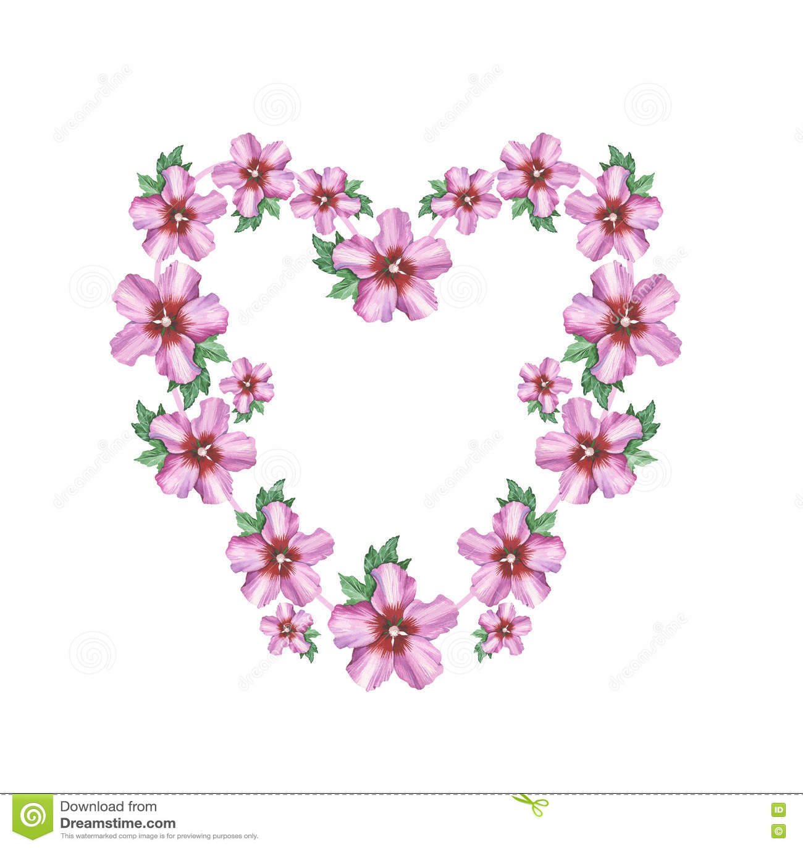 cadre rose de guirlande de coeur de fond de fleur de ketmie dans