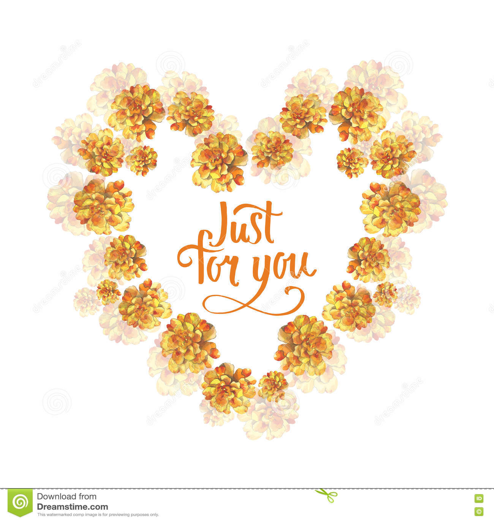 cadre rose de guirlande de coeur de fond de fleur de souci jaune