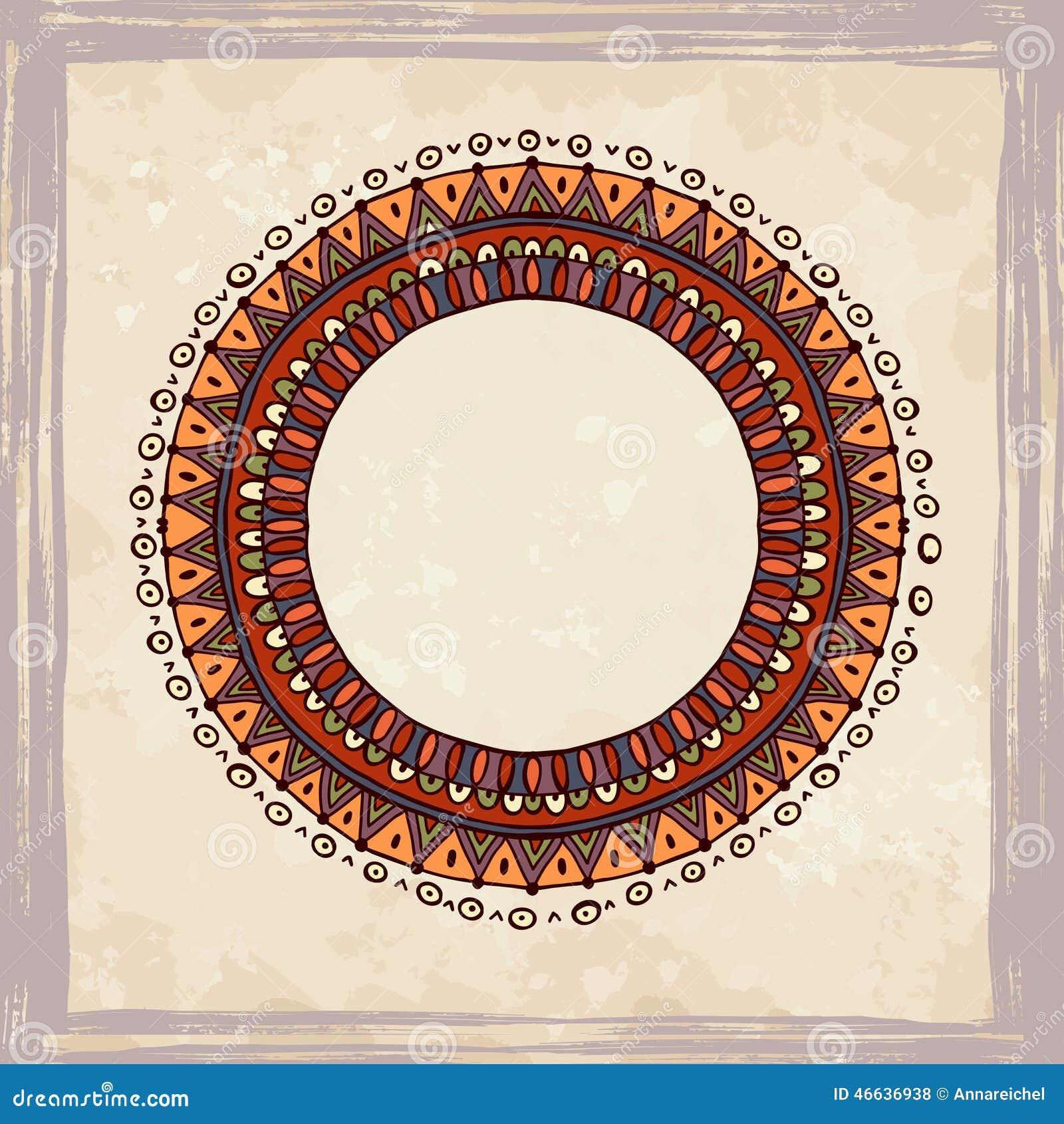 cadre tir par la main dans le style africain illustration de vecteur image 46636938. Black Bedroom Furniture Sets. Home Design Ideas