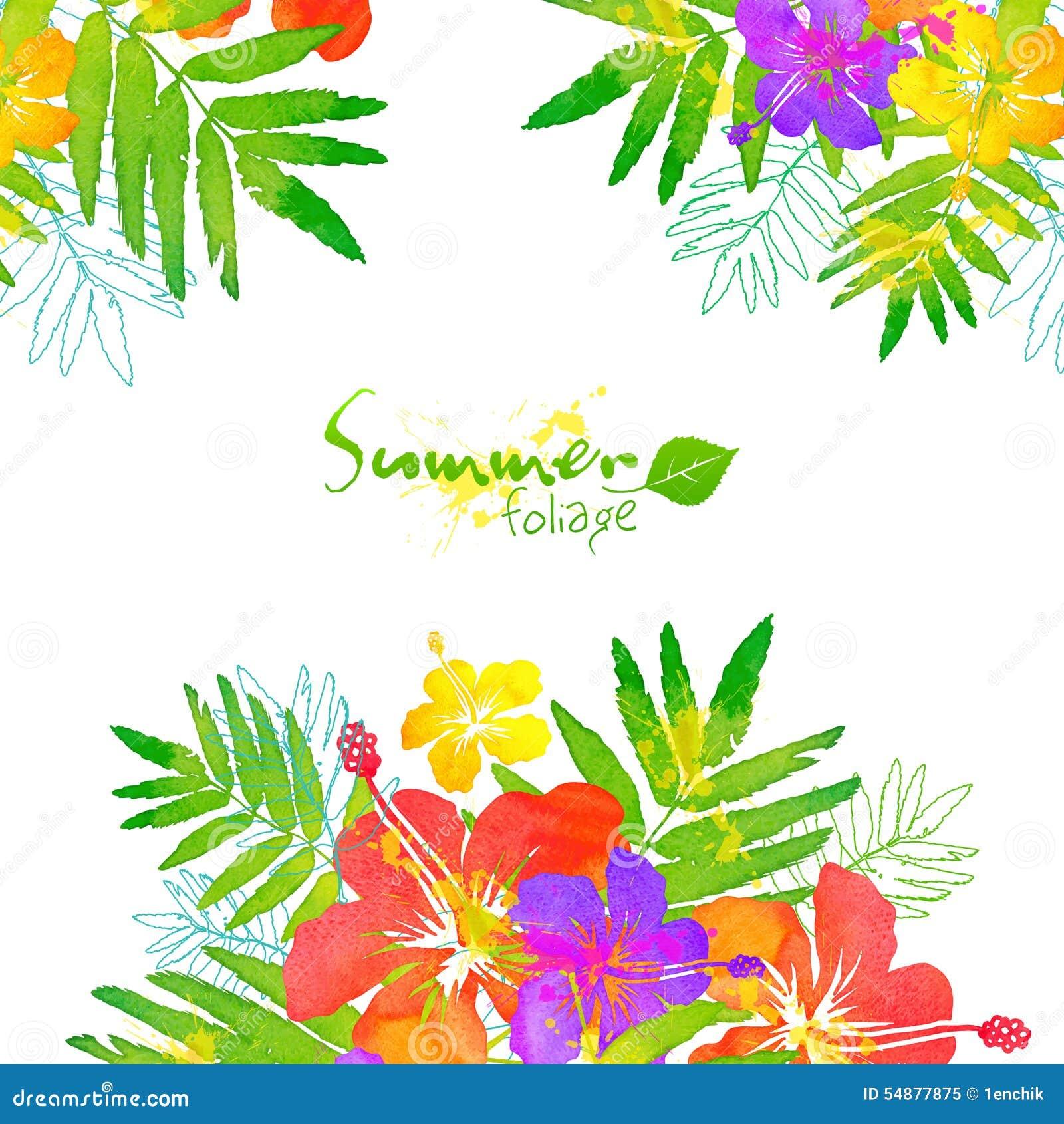 Cadre tropical lumineux d 39 t de vecteur de fleurs for Bouquet de fleurs lumineux