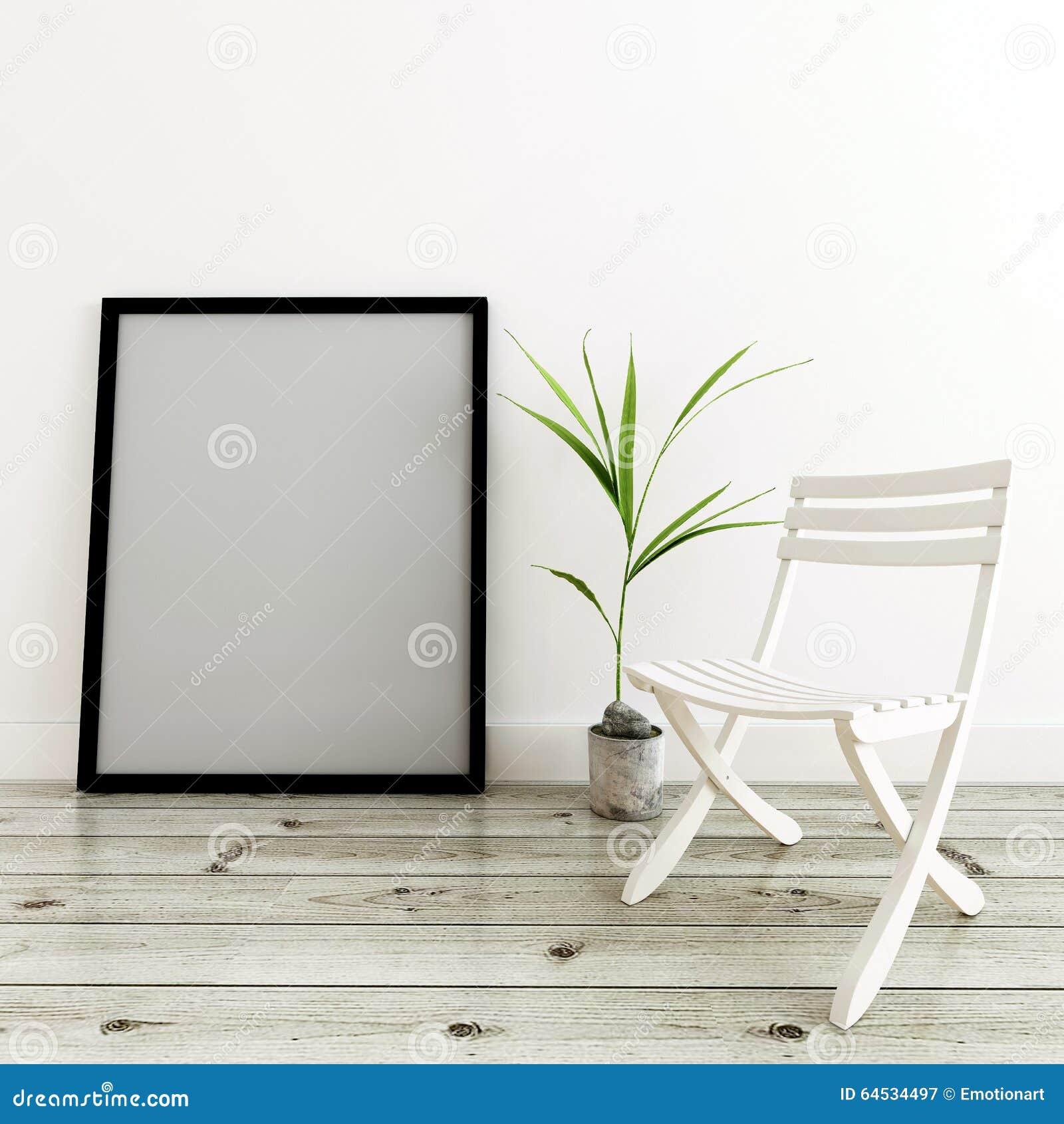 Cadre, Usine Mise En Pot Et Chaise Blanche Dans La Maison Moderne ...