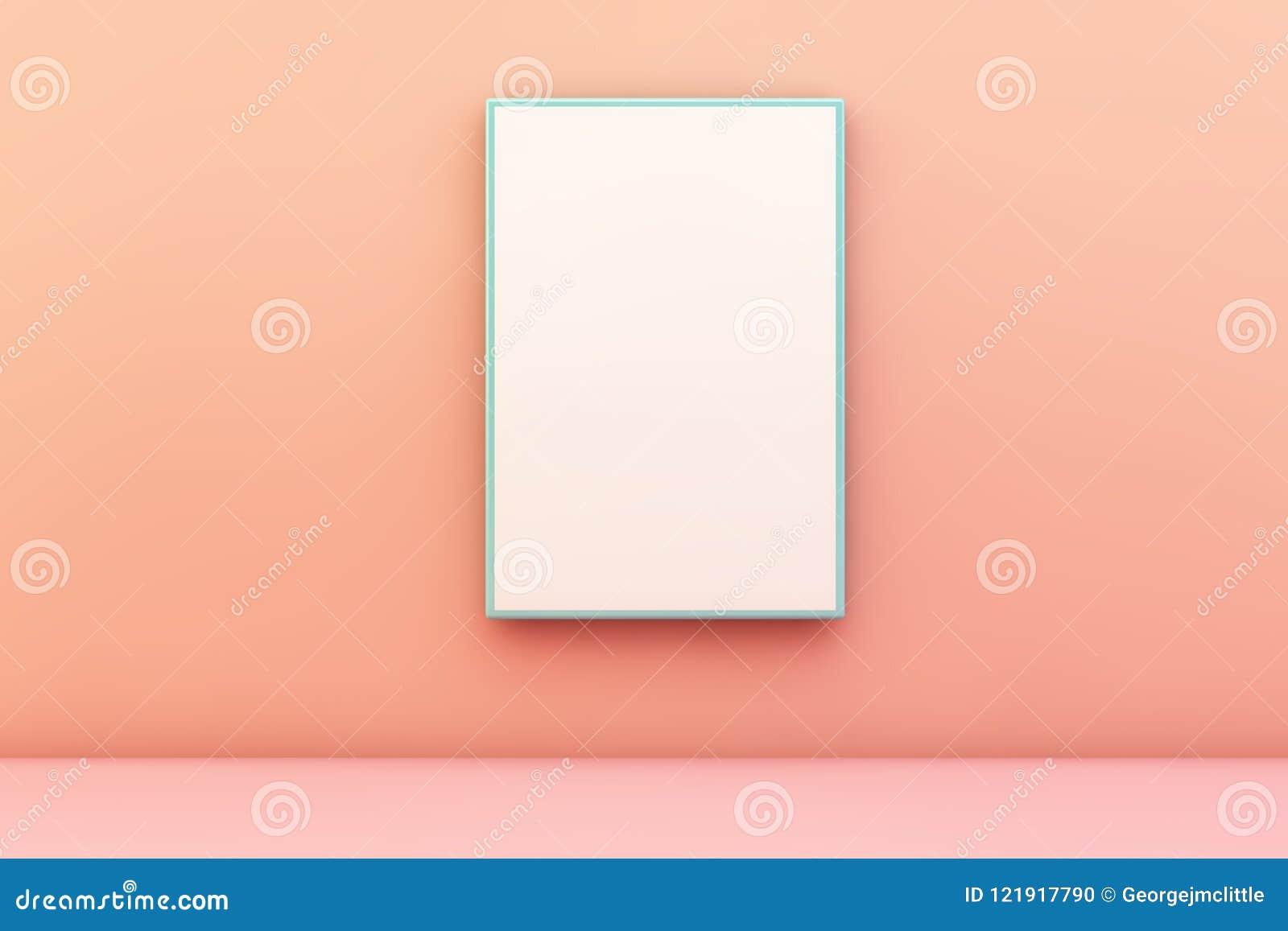 cadre vide bleu sur un mur illustration stock. illustration du