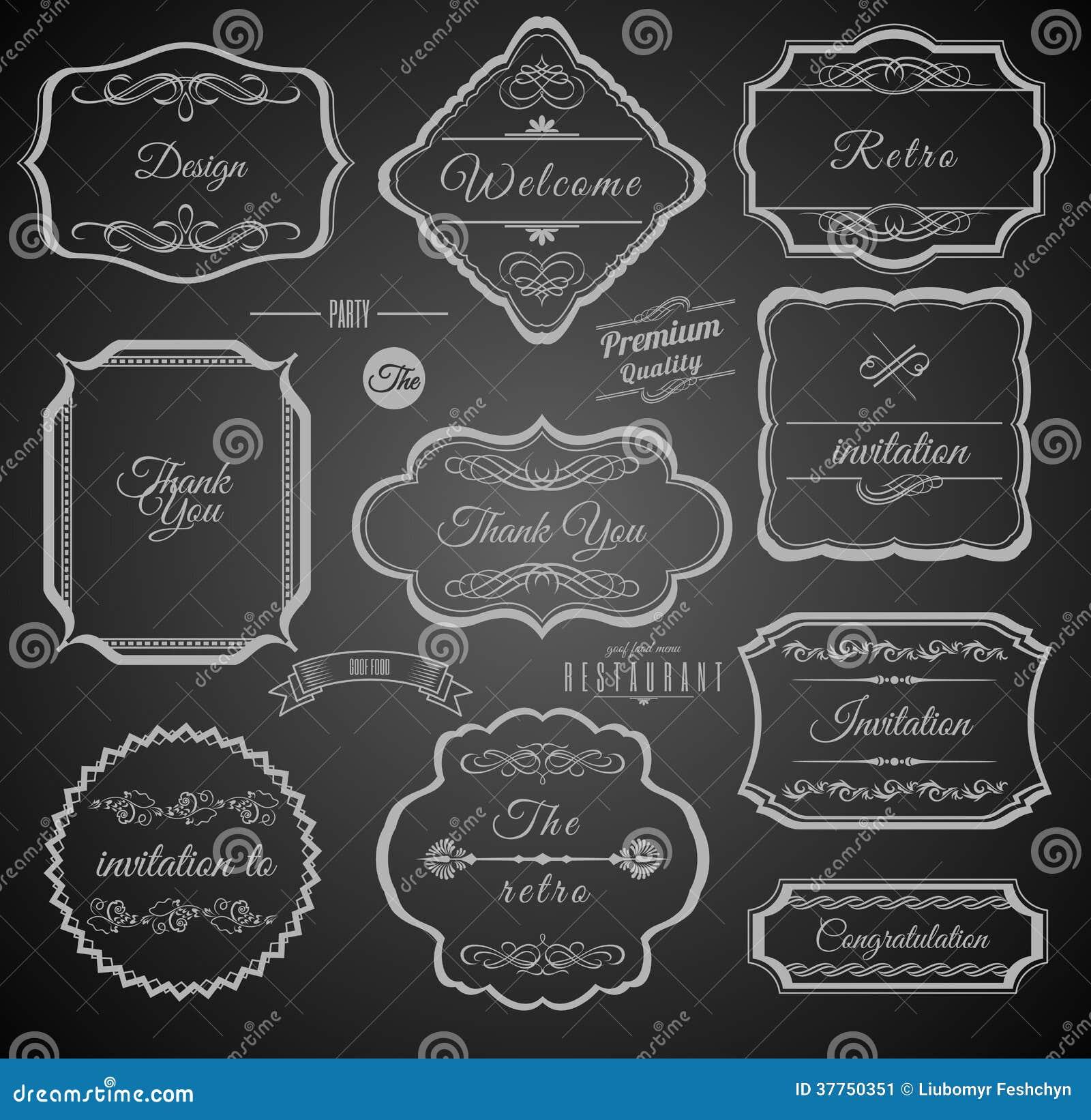 Cadres calligraphiques de vintage avec des éléments de conception