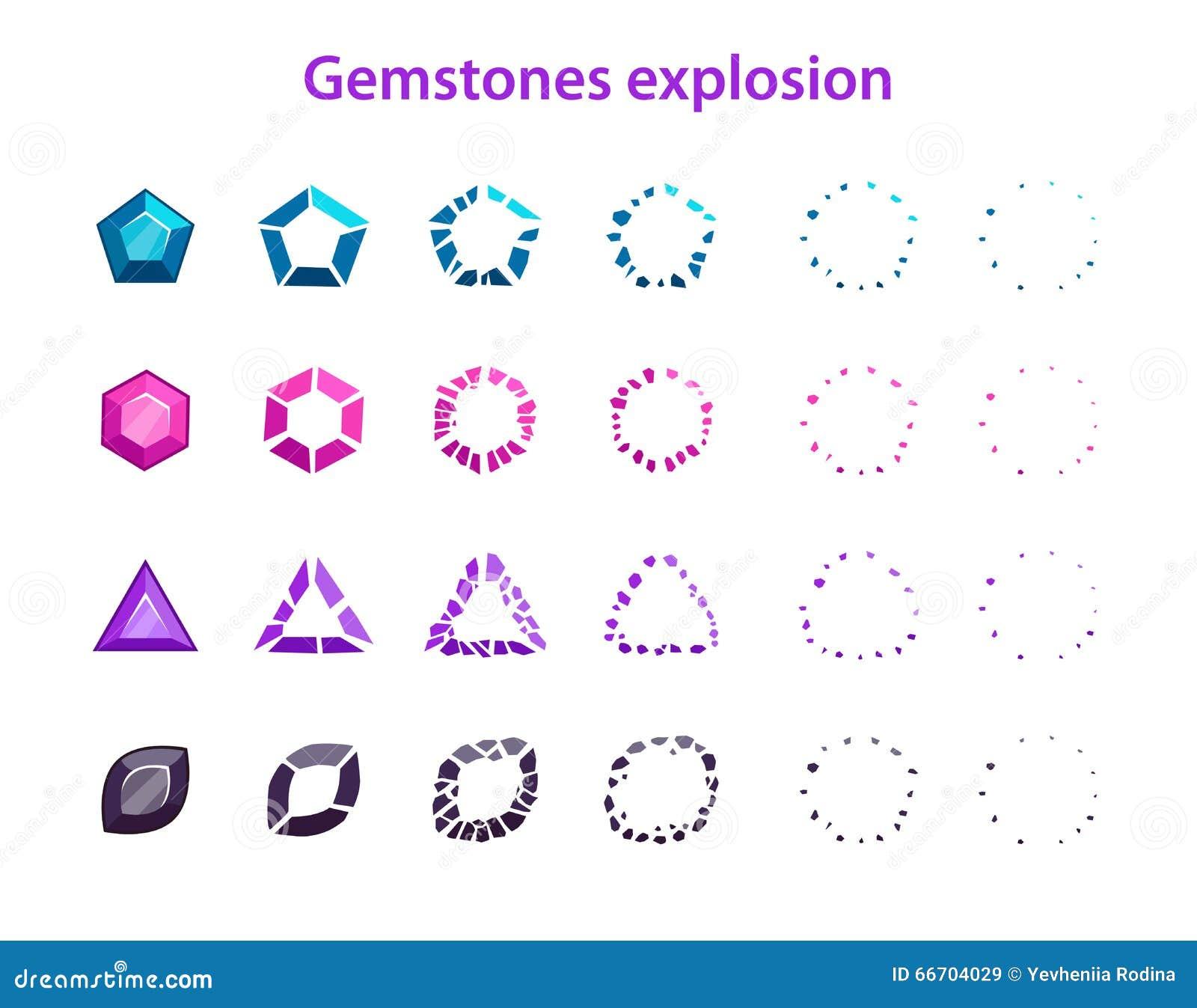 Cadres colorés d explosion de pierres gemmes de bande dessinée