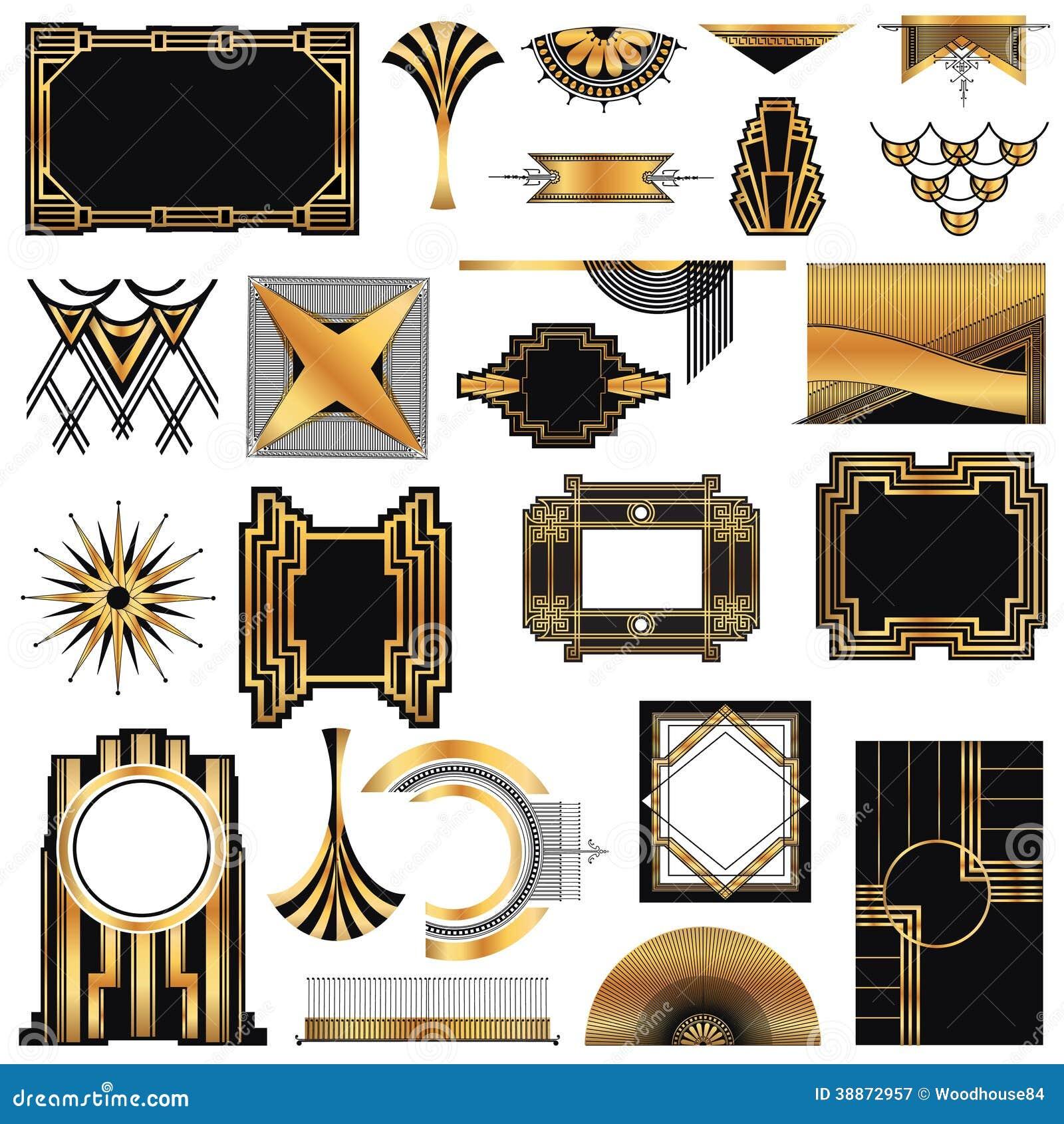 Cadres d 39 art deco vintage illustration de vecteur image for Classic art deco