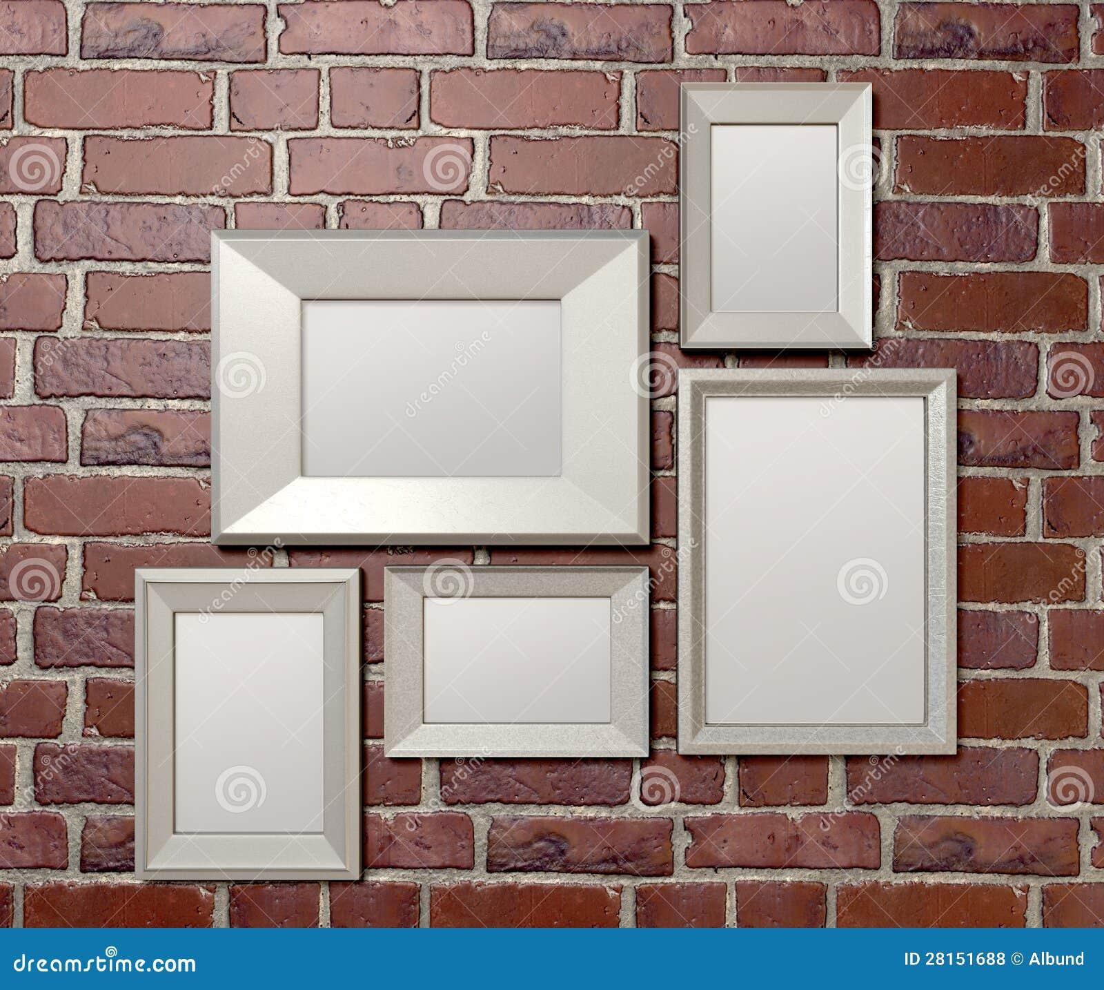 cadres de tableau blanc sur un avant de mur photos libres de droits image 28151688. Black Bedroom Furniture Sets. Home Design Ideas