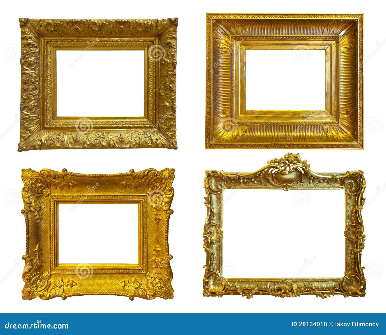 cadres de tableau d 39 or d 39 isolement au dessus du blanc photo stock image 28134010. Black Bedroom Furniture Sets. Home Design Ideas