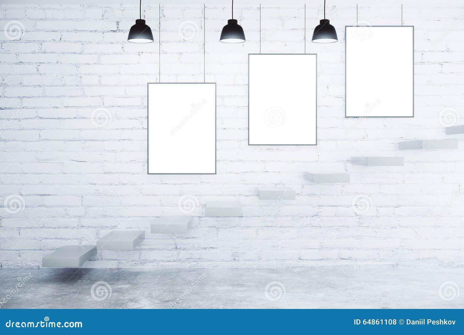 Cadres de tableau vides sur le mur de briques les lampes et les escaliers bl - Tableau sur mur blanc ...