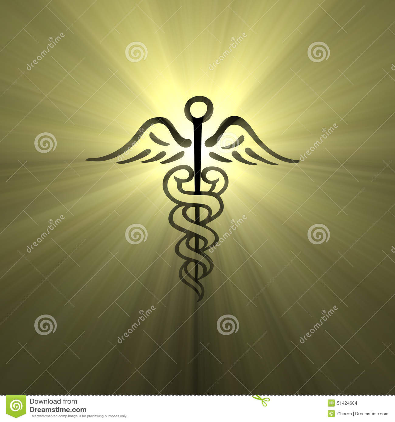 Caduceus Hermes Symbol Light Flare Stock Illustration