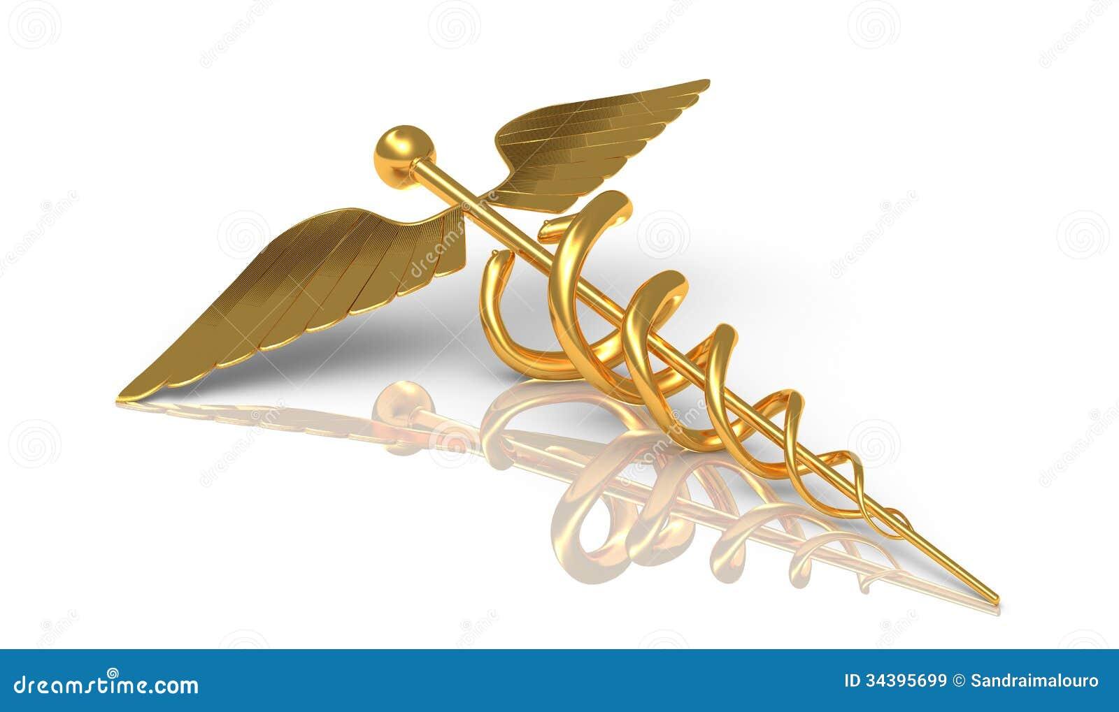 Caduceus i guld - Hermes det grekiska symbolet - stift med ormen