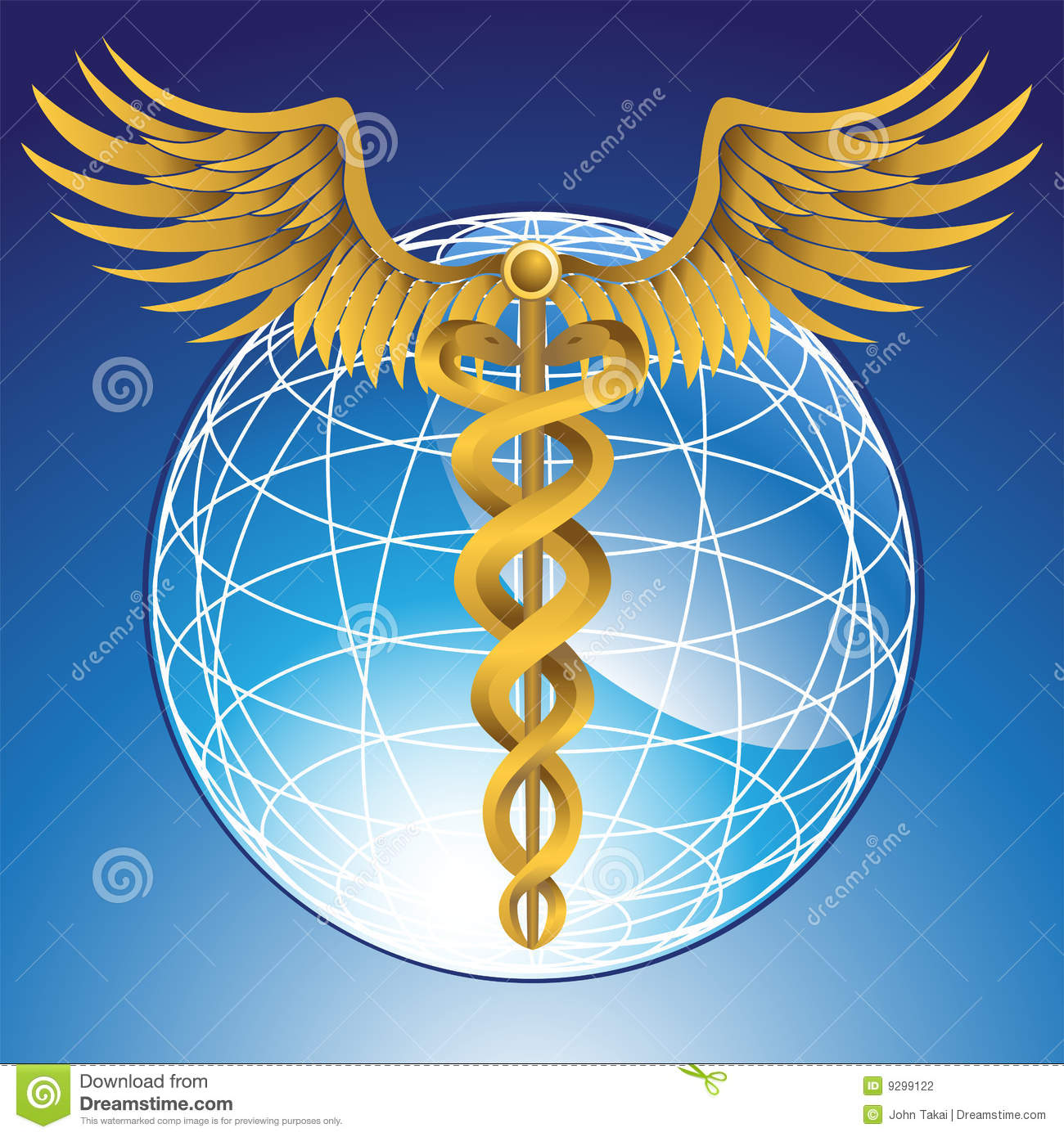 Caduceus Medical Symbol With 3d Globe Stock Vector Illustration Of