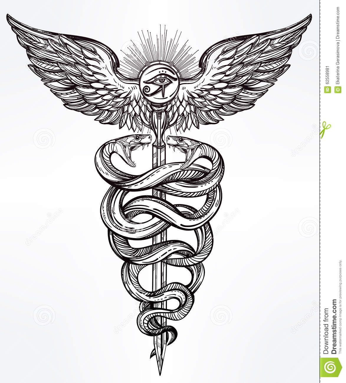Caduceus Symbol Of God Mercury Illustration. Stock Vector ...