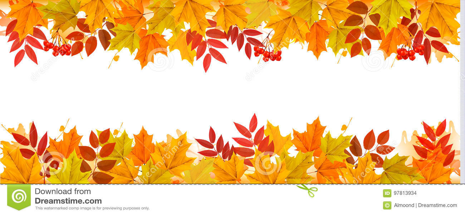 Caduta Autumn Colorful Leaves Background di panorama