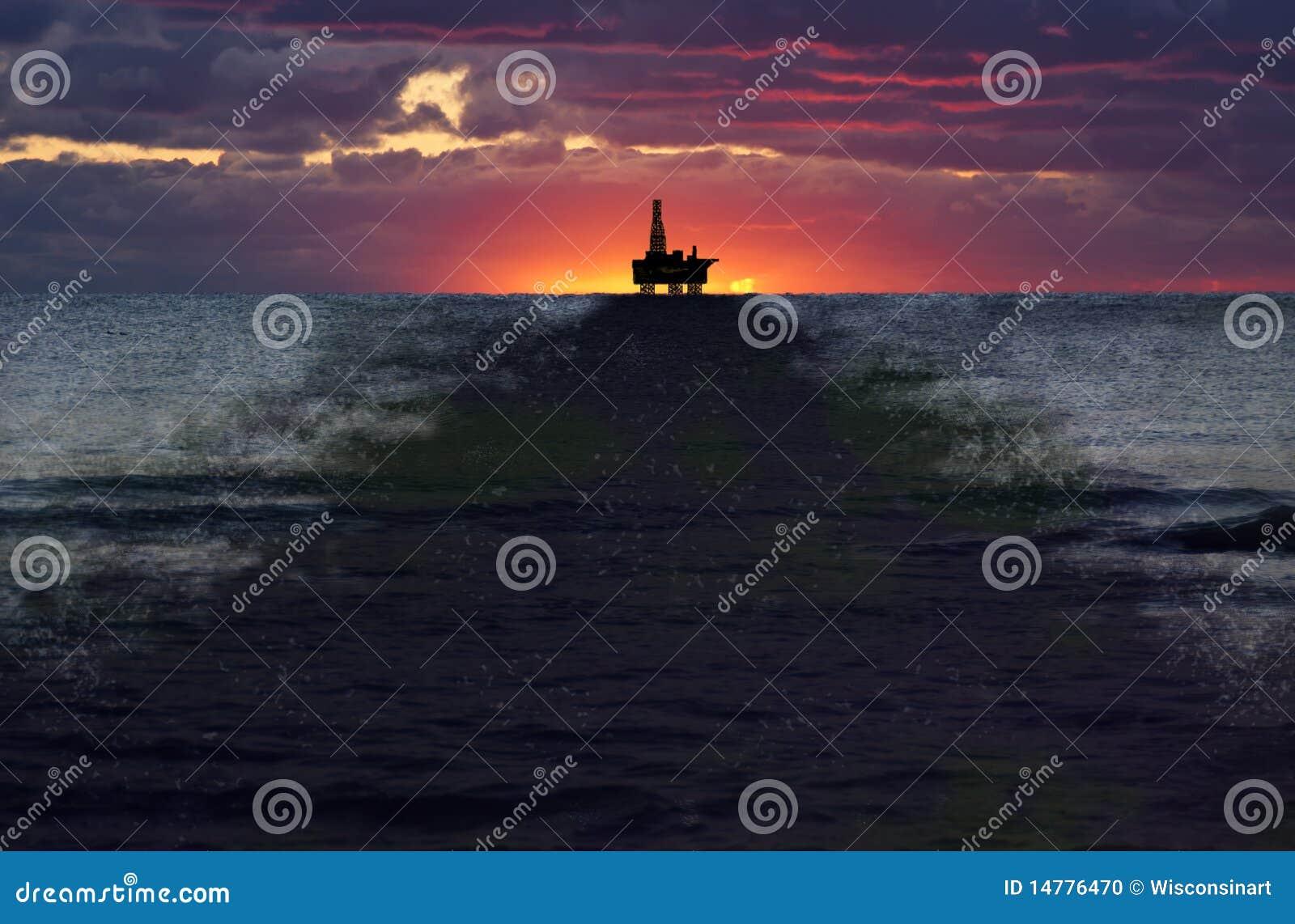 Caduta di olio del pozzo di perforazione in mare aperto, destra, inquinamento