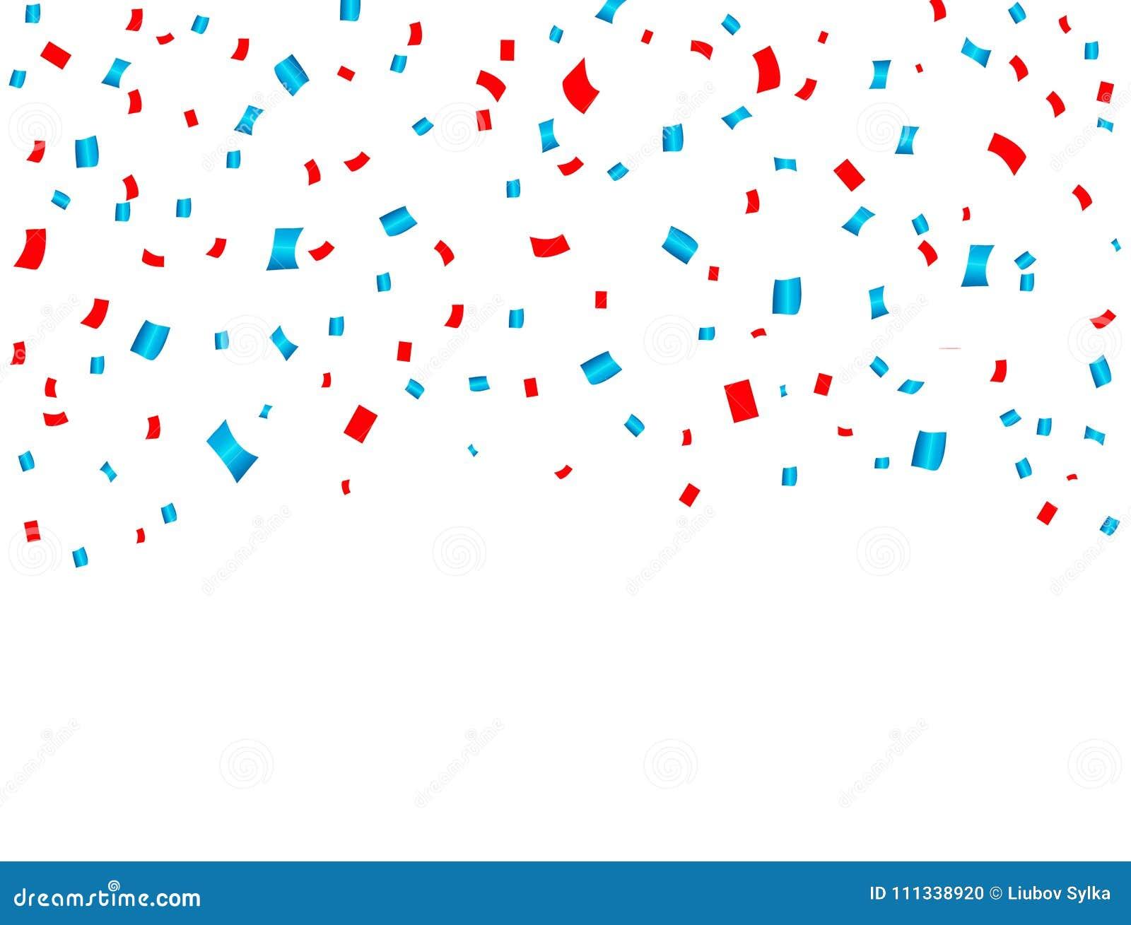Caduta rossa e blu di celebrazione di U.S.A. dei coriandoli Concetto nei colori nazionali per la festa dell indipendenza, l event