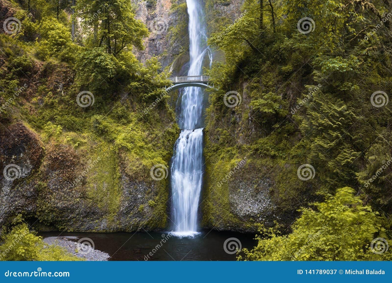 Cadute di Multnomah da Benson Bridge alla gola Oregon del fiume Columbia nella stagione primaverile Portland Oregon U