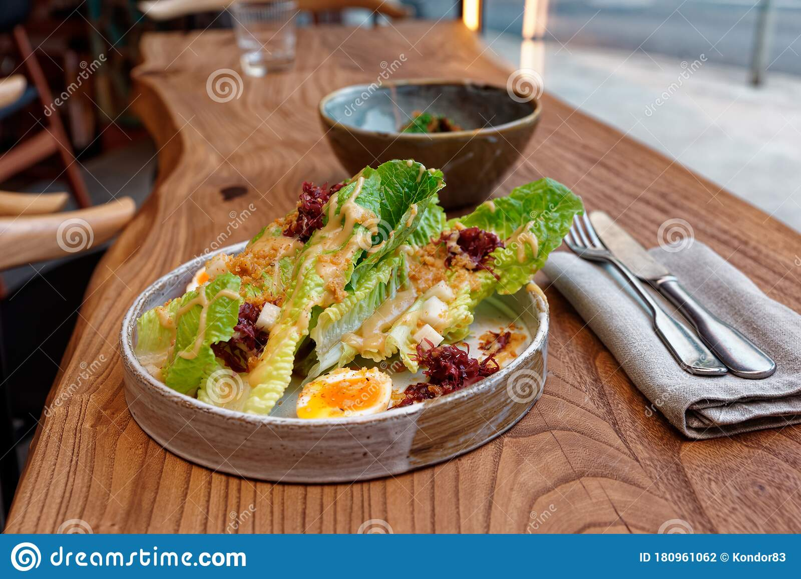 Caesar Salad Cooked In Asian Way Stock Photo Image Of Bowl International 180961062