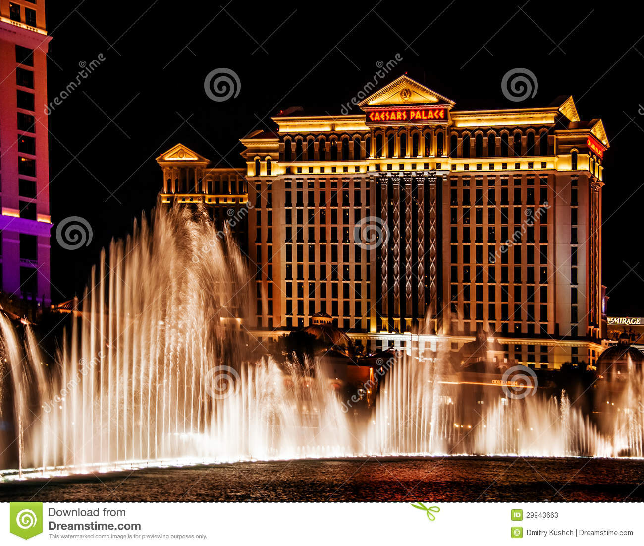 water show on caesars palace hotel background editorial stock photo
