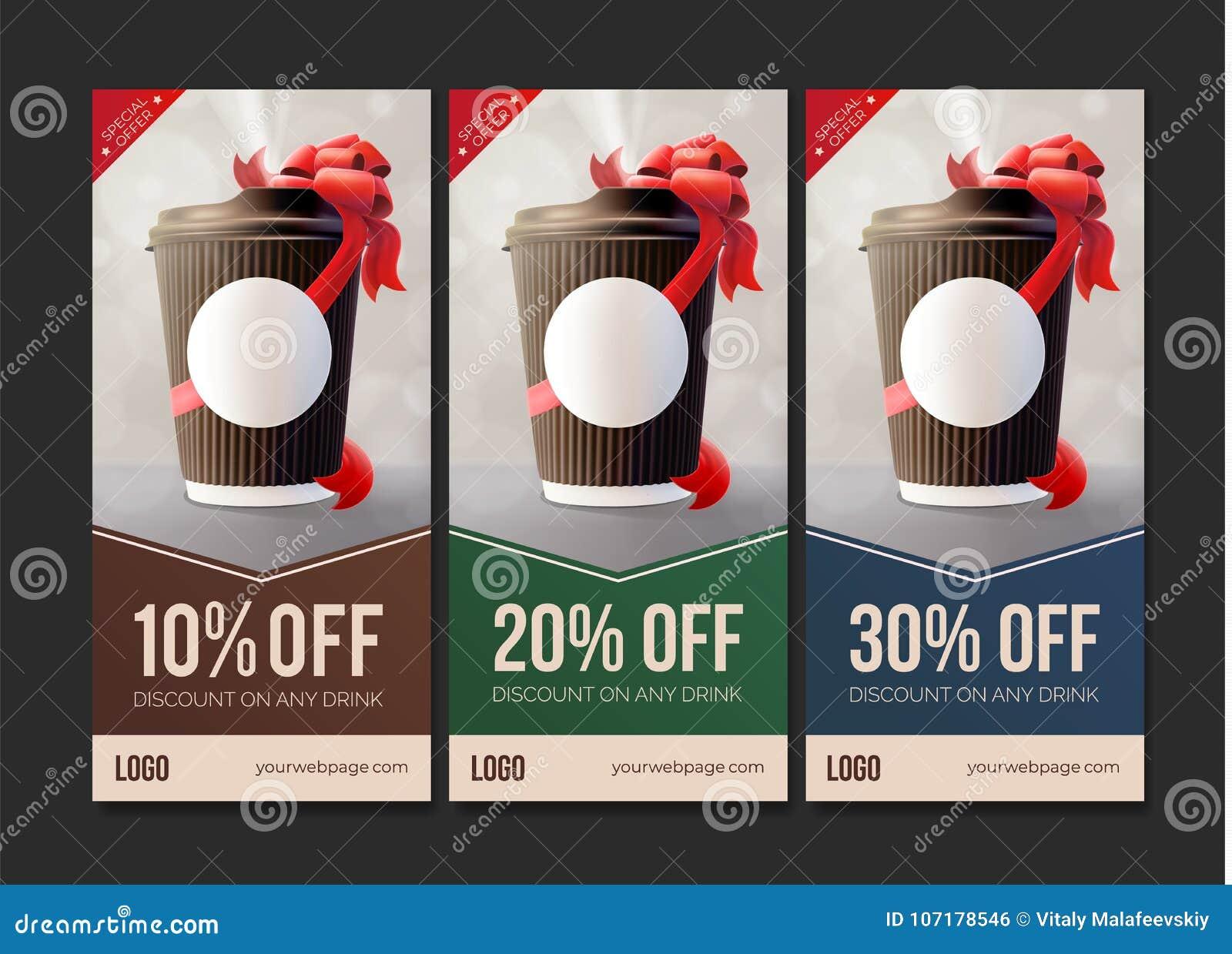 Café à aller bons de remise Tasse d ondulation de café avec un ruban rouge