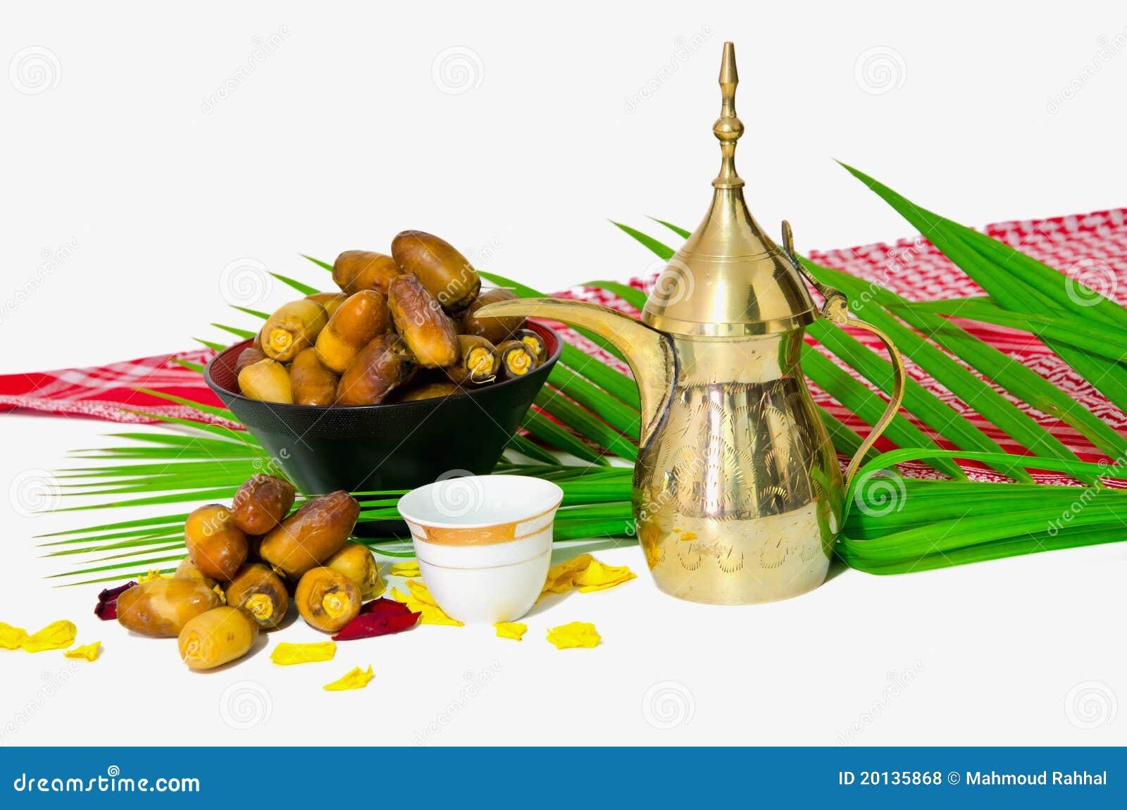 Caf arabe avec le fruit de datte photos libres de droits for Portent fruit